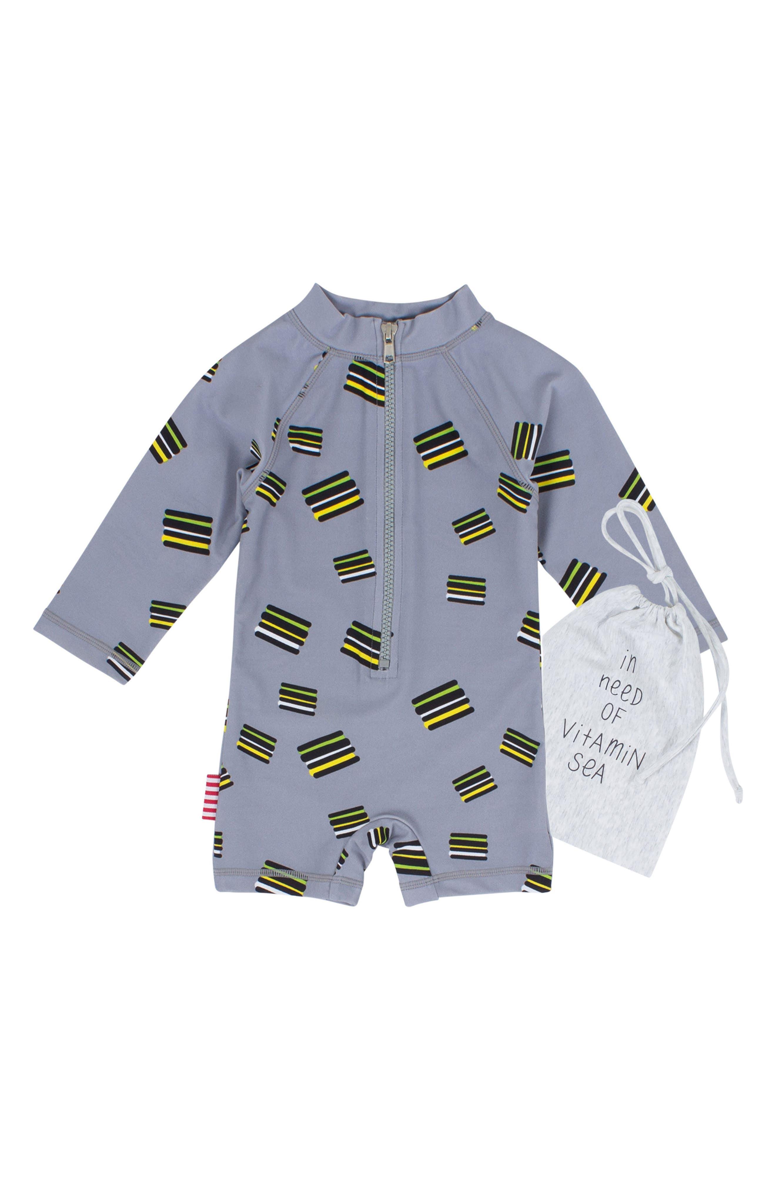 Licorice One-Piece Rashguard Swimsuit,                         Main,                         color, Grey