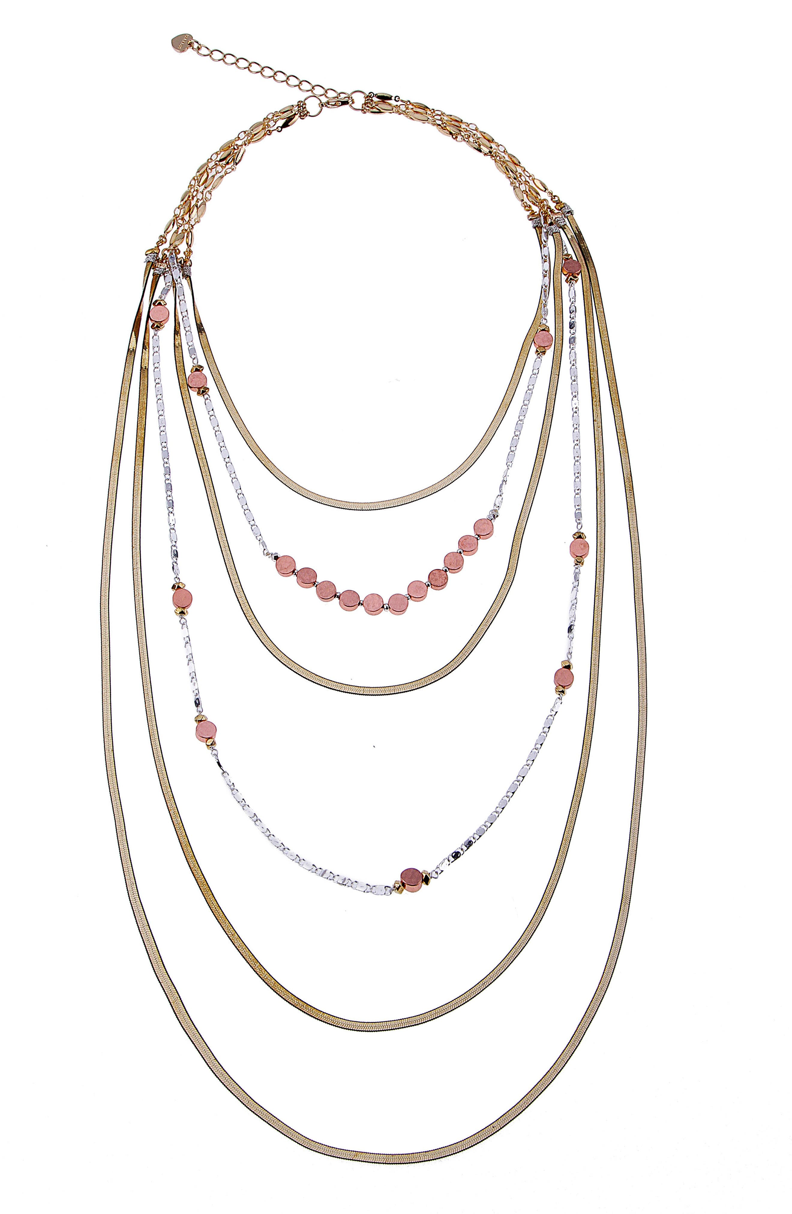 Layered Snake Chain Necklace,                         Main,                         color, Multi