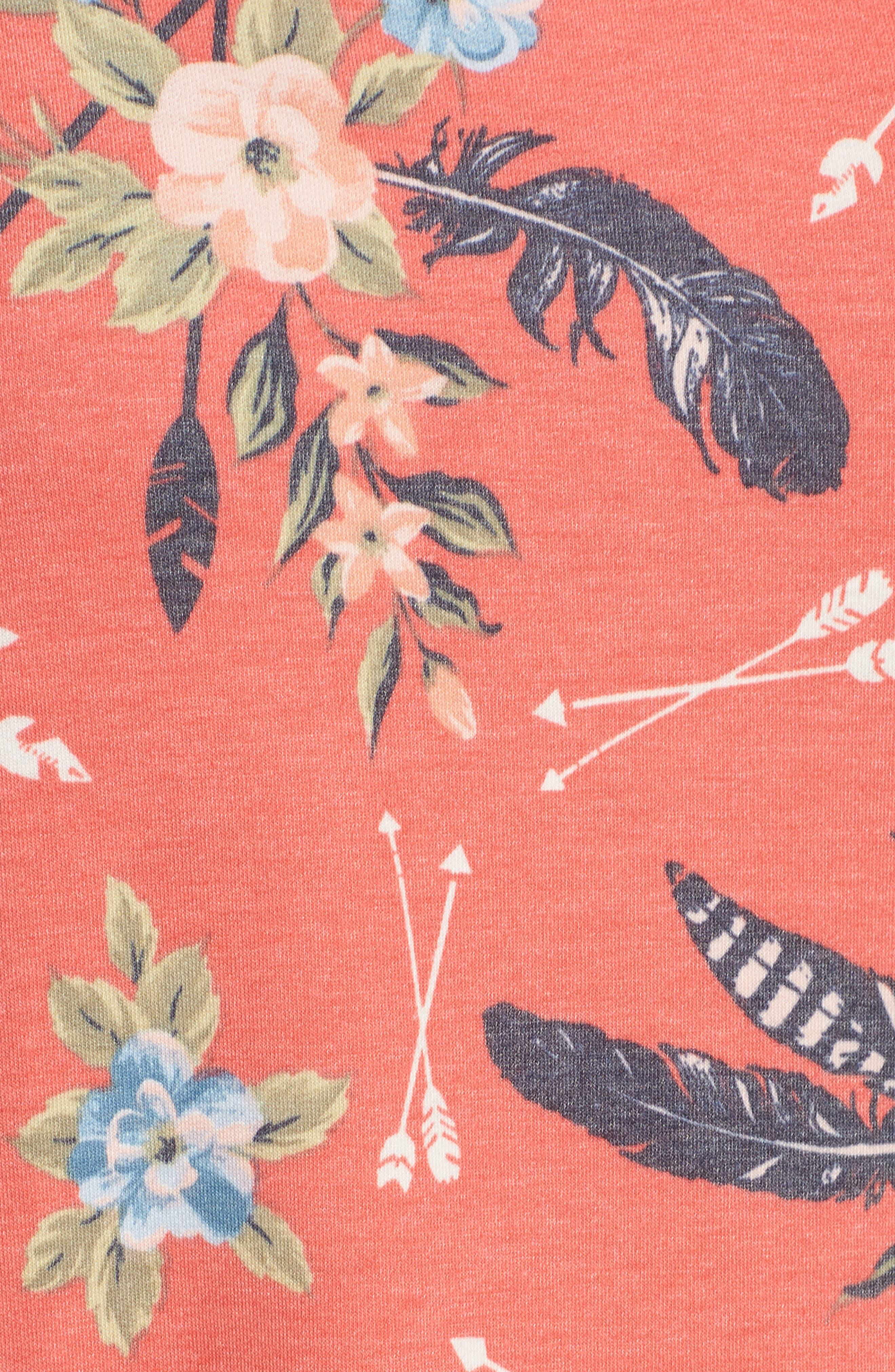 Printed Hoodie Sweatshirt,                             Alternate thumbnail 5, color,                             Coral Poppy