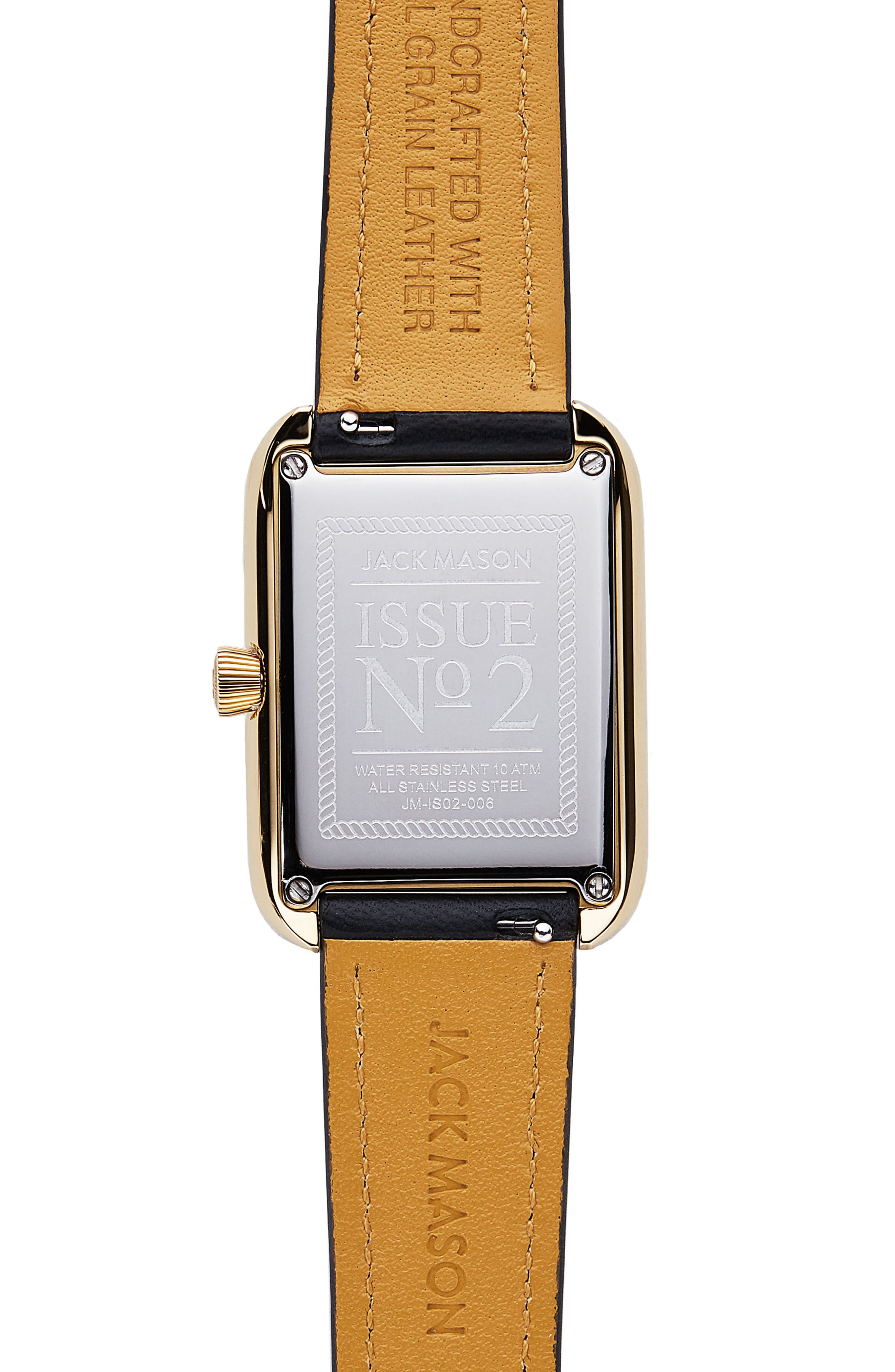Issue No. 2 Leather Strap Watch, 34mm x 28mm,                             Alternate thumbnail 3, color,                             Black/ White/ Gold