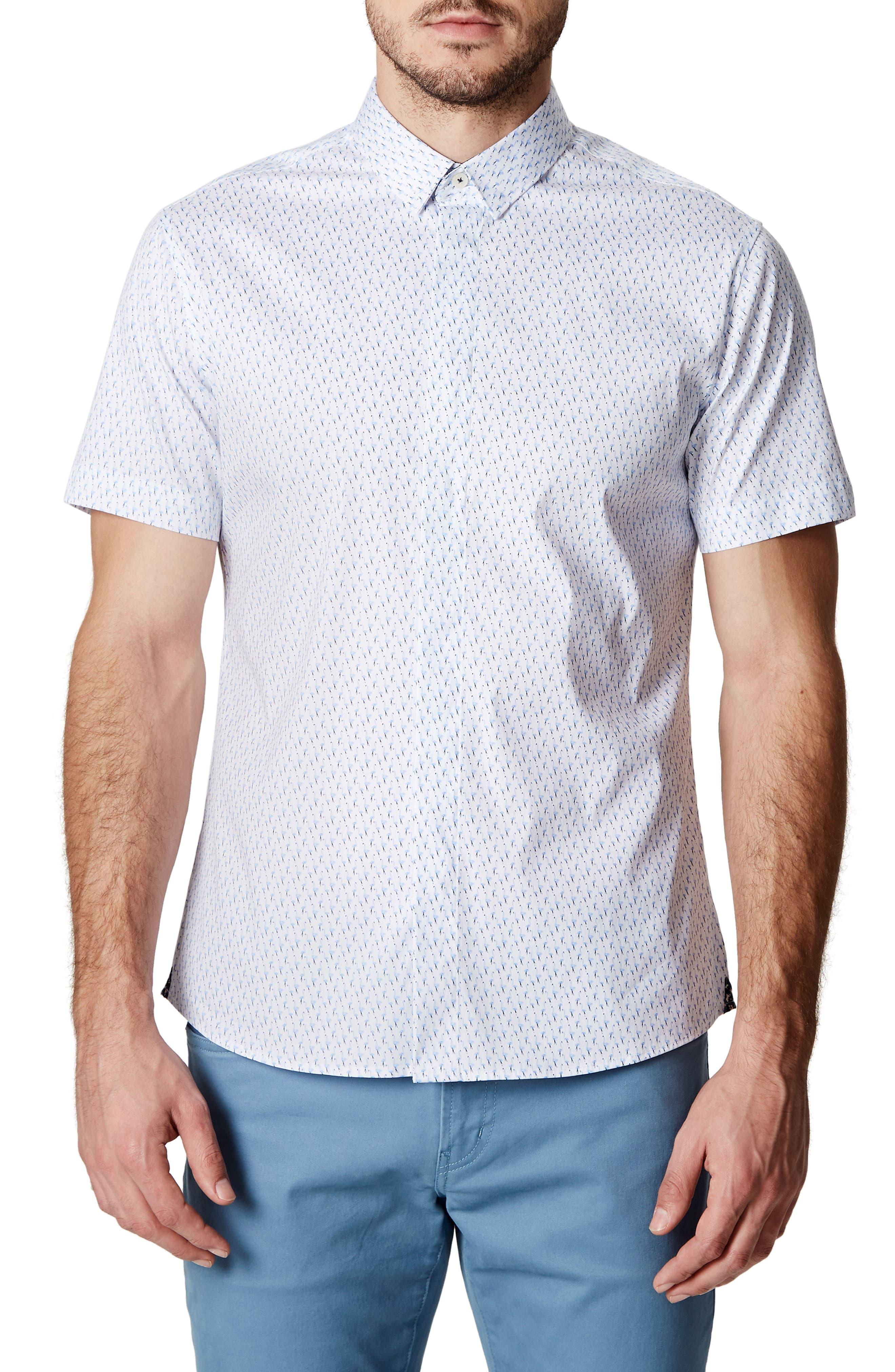 Charm School Trim Fit Short Sleeve Sport Shirt,                             Main thumbnail 1, color,                             Blue