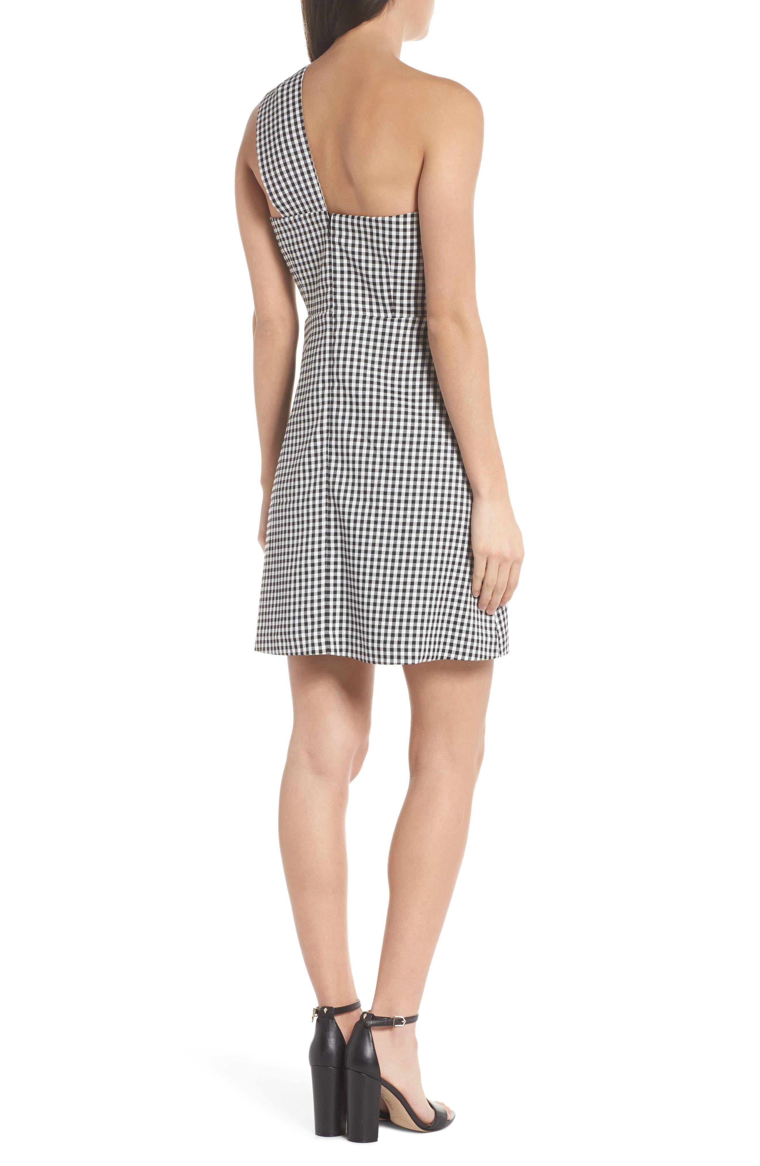 One-Shoulder Gingham Dress,                             Alternate thumbnail 2, color,                             Black/ White