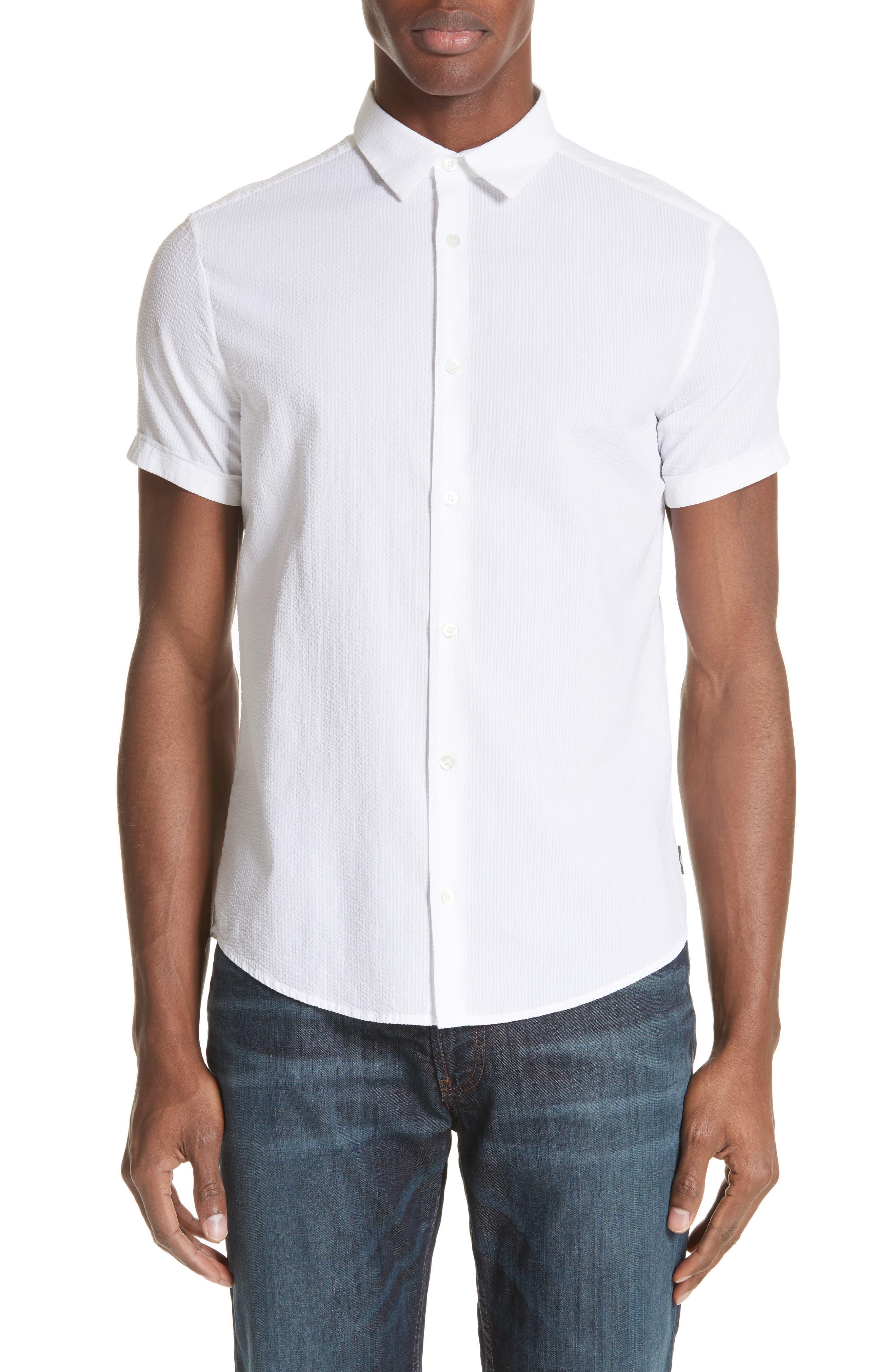 Emporio Armani Regular Fit Short Sleeve Dress Shirt