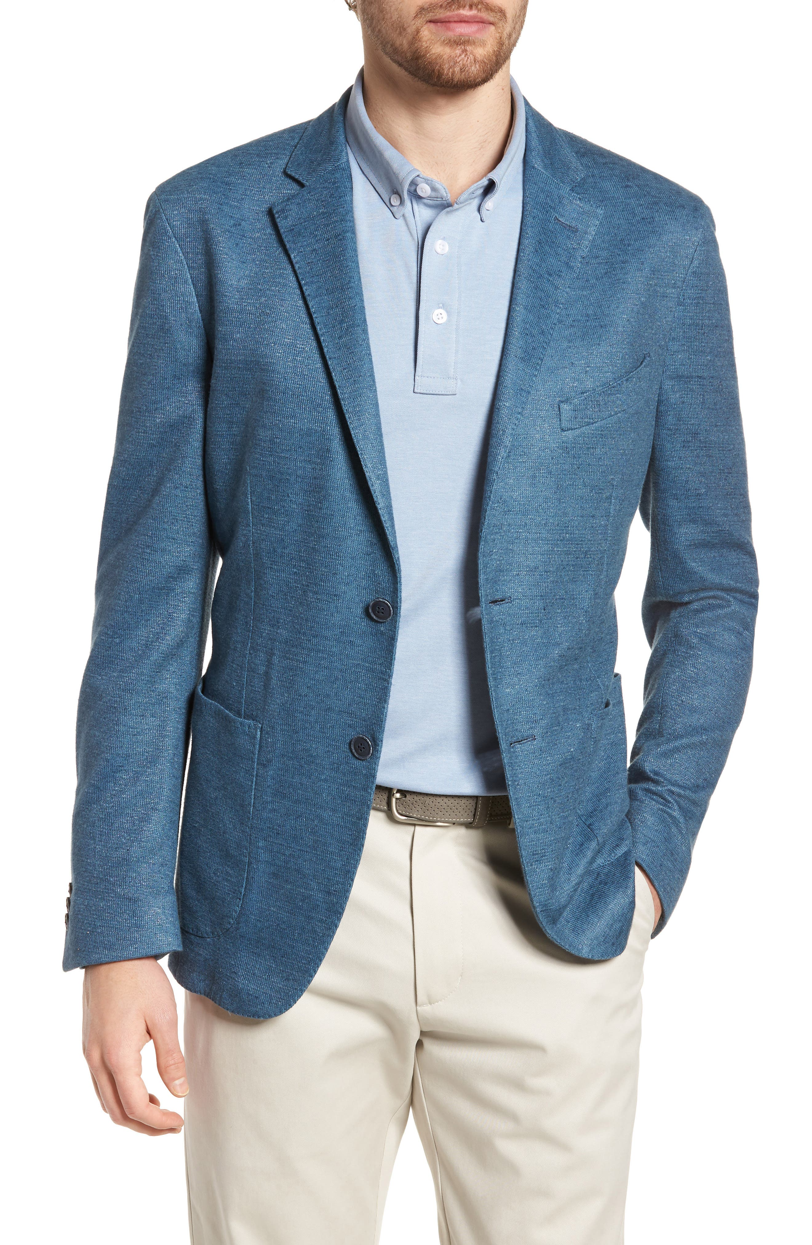 Trim Fit Heathered Jersey Blazer,                         Main,                         color, Blue