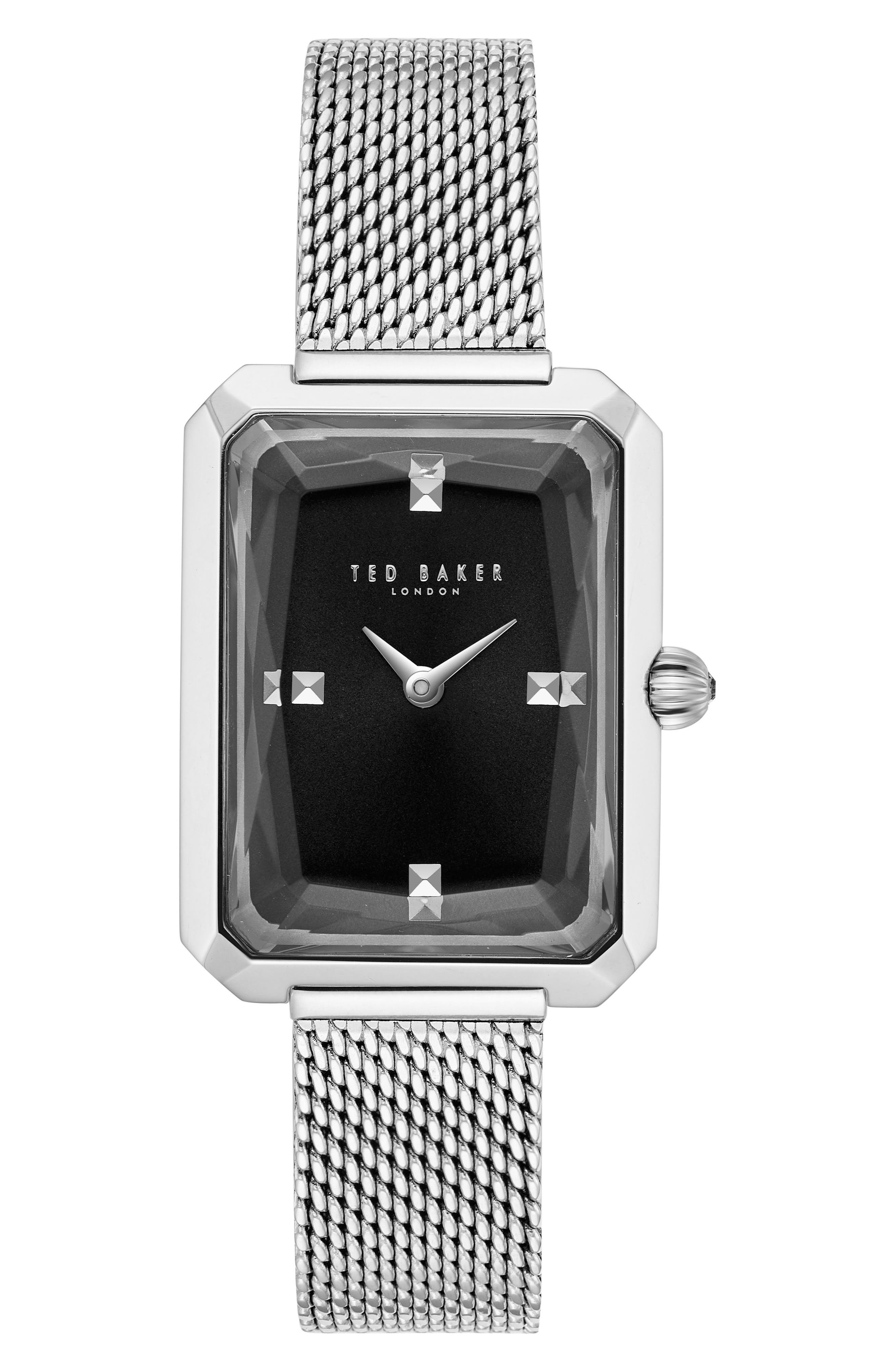 Cara Mesh Strap Watch, 22mm,                             Main thumbnail 1, color,                             Silver/ Black/ Silver