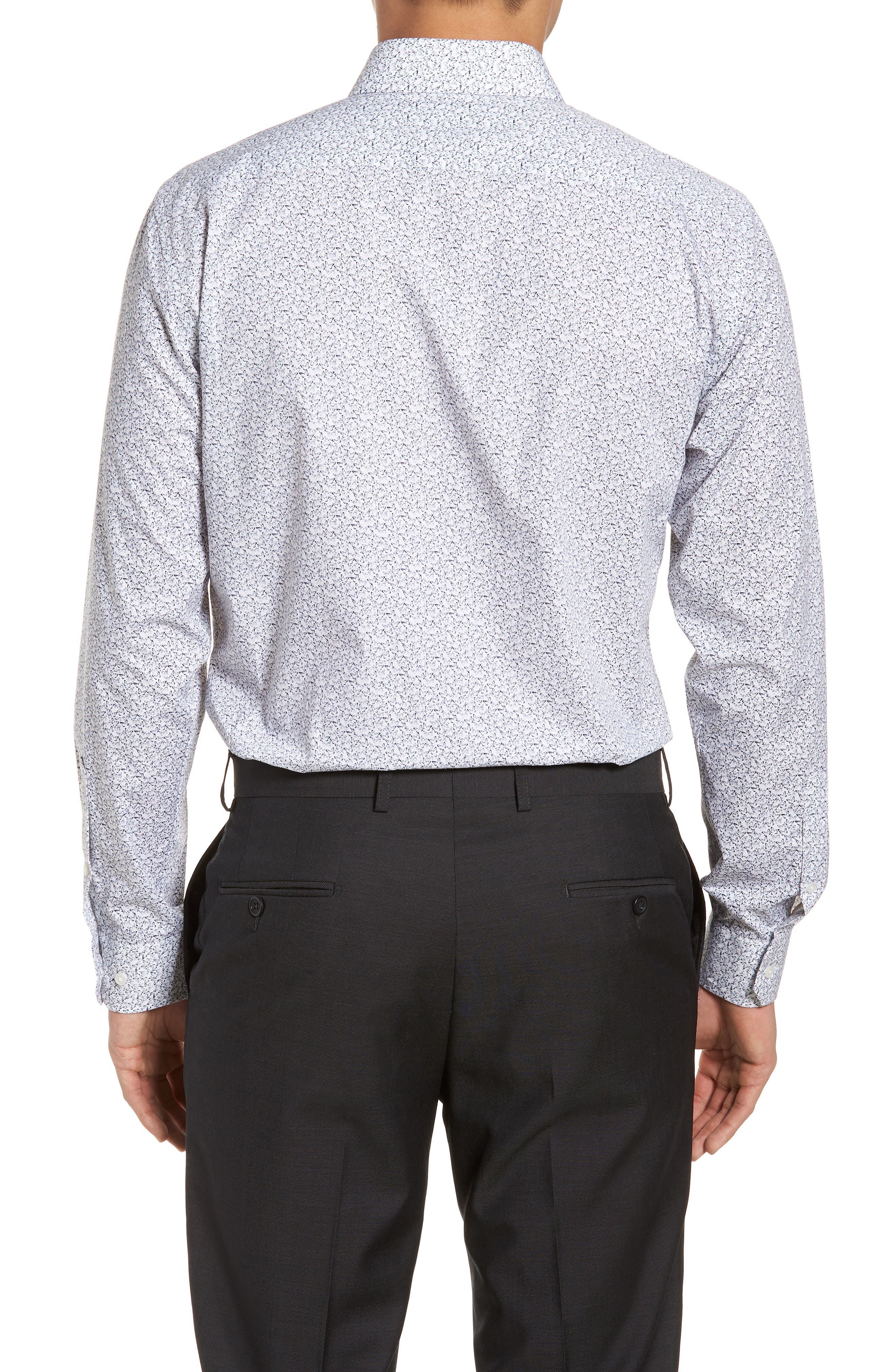 Trim Fit Butterfly Print Sport Shirt,                             Alternate thumbnail 4, color,                             White