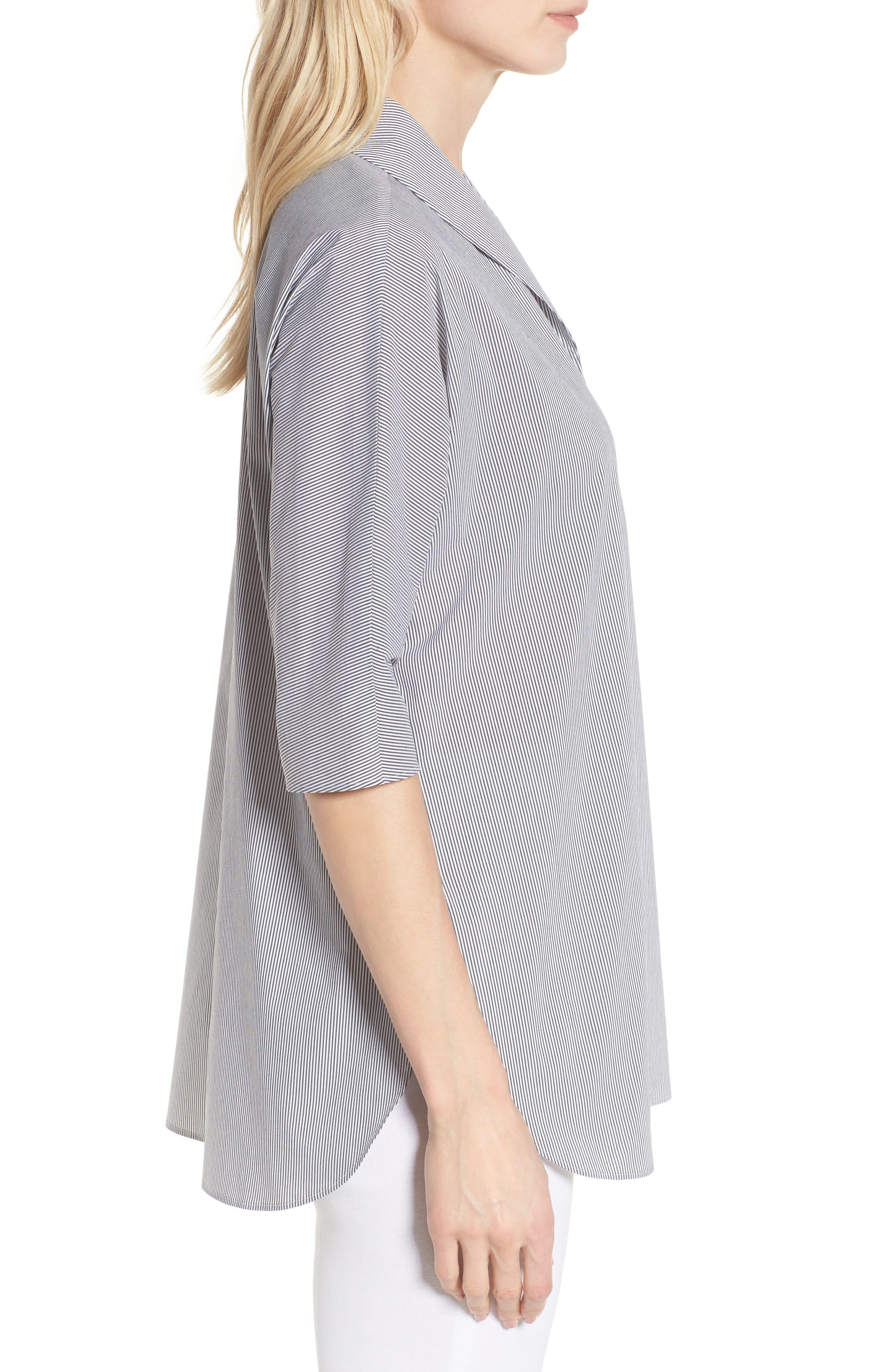 Stripe Tunic Shirt,                             Alternate thumbnail 3, color,                             Black/ White