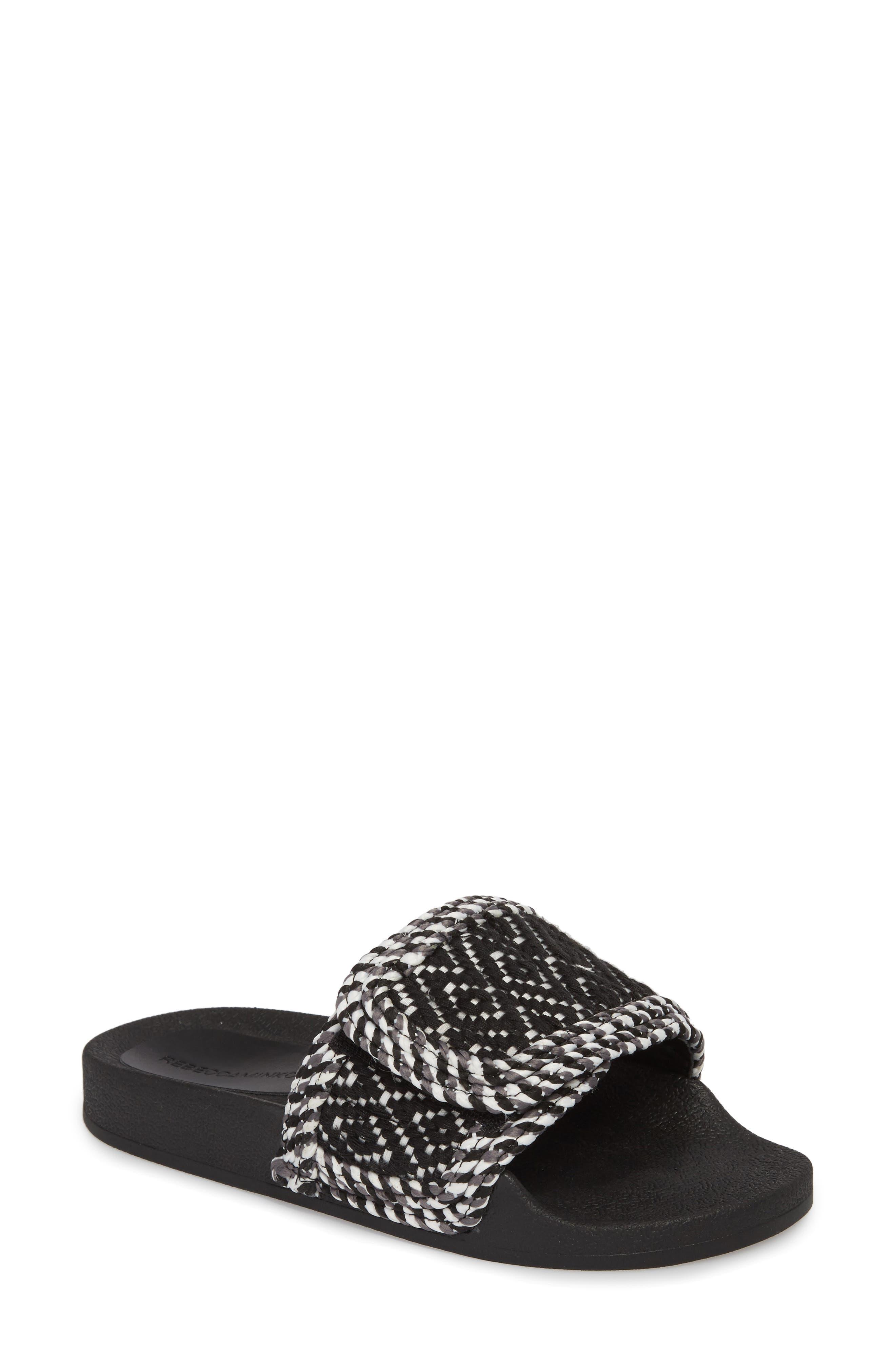 Tressa Woven Slide Sandal,                             Main thumbnail 1, color,                             Black/ White Woven Fabric