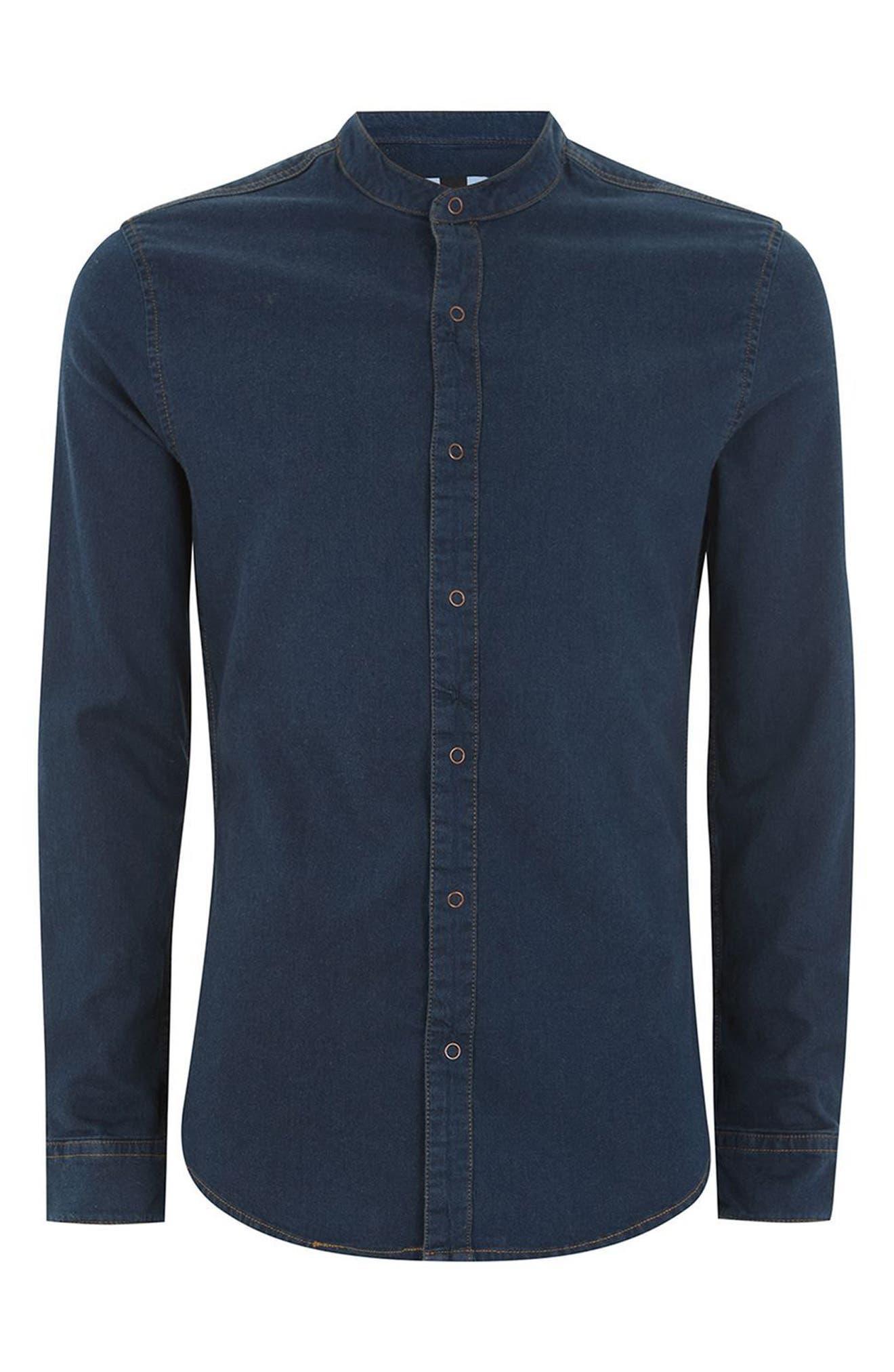Band Collar Denim Shirt,                             Alternate thumbnail 5, color,                             Blue
