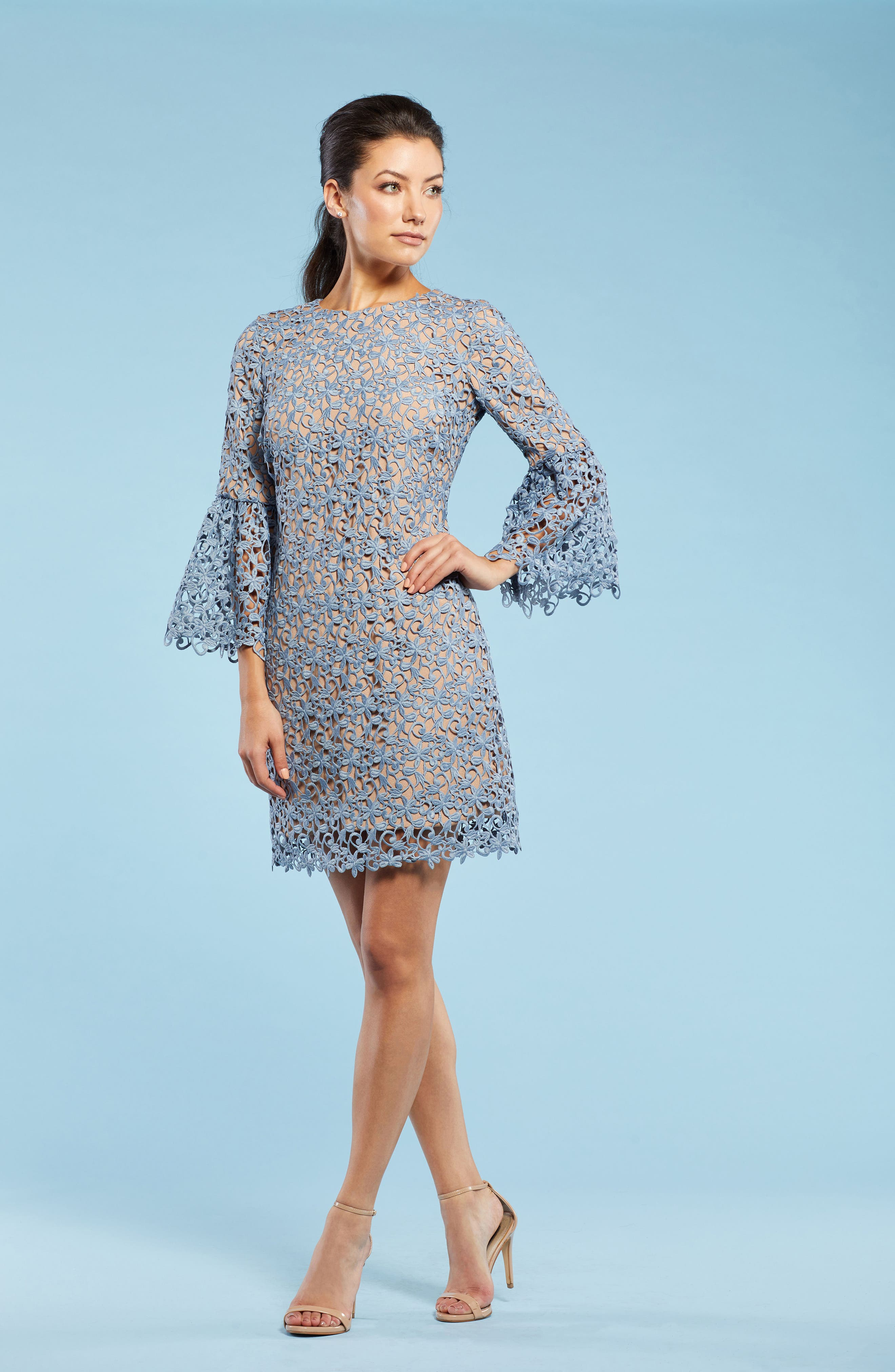 Paige Crochet Shift Dress,                             Alternate thumbnail 2, color,                             Mineral Blue/ Nude
