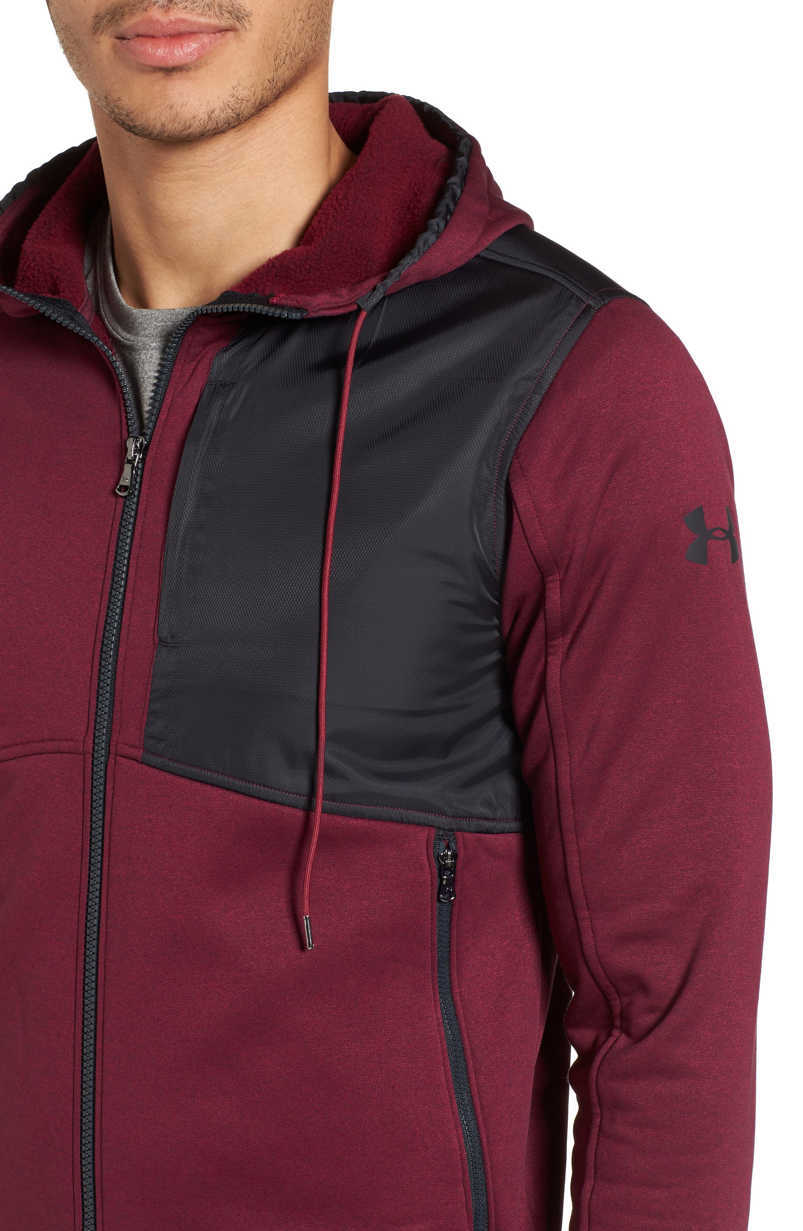 Courtside Stealth Zip Hoodie,                             Alternate thumbnail 4, color,                             Black Currant / Black