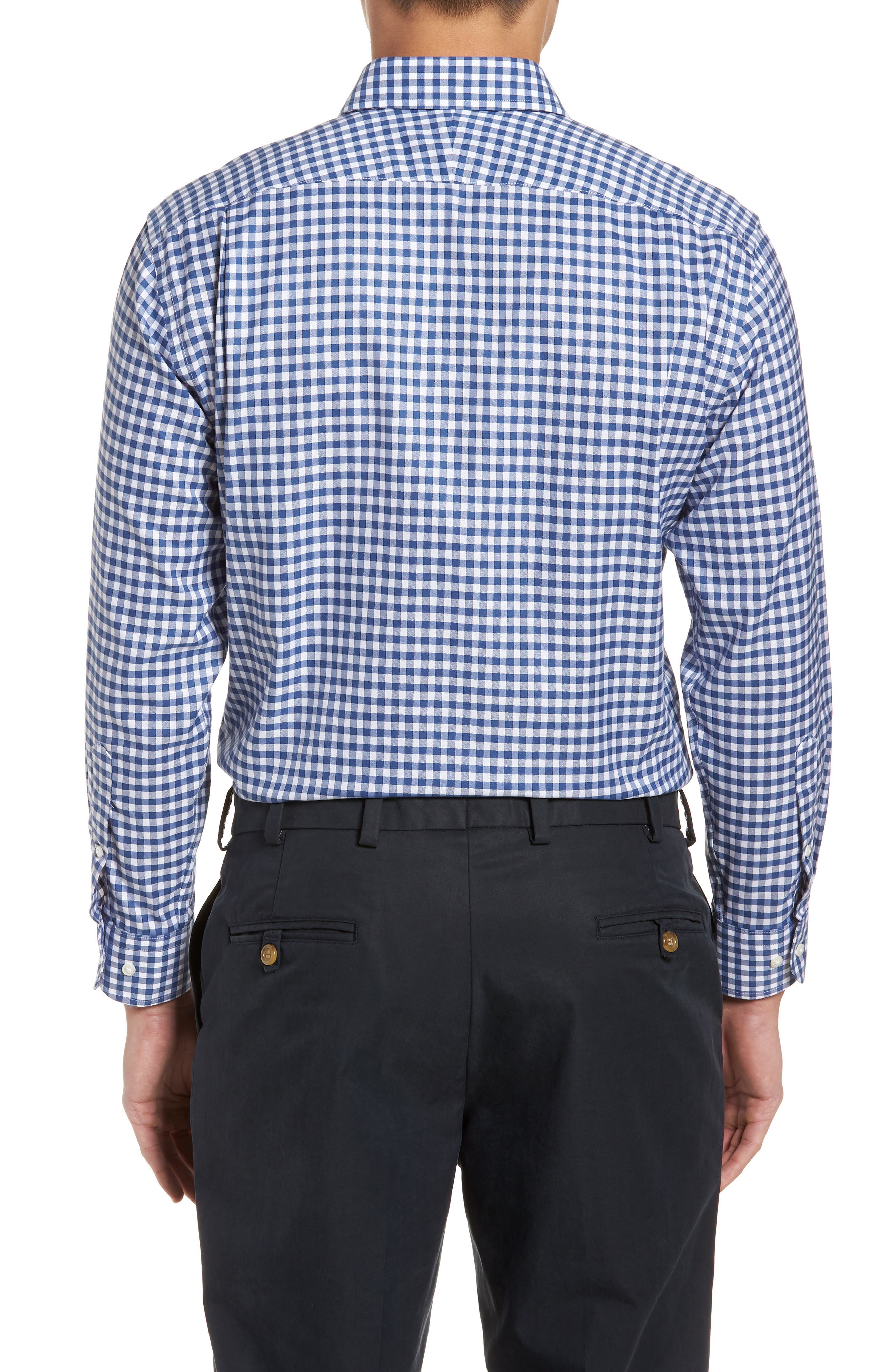Smartcare<sup>™</sup> Trim Fit Check Dress Shirt,                             Alternate thumbnail 3, color,                             Blue Canal
