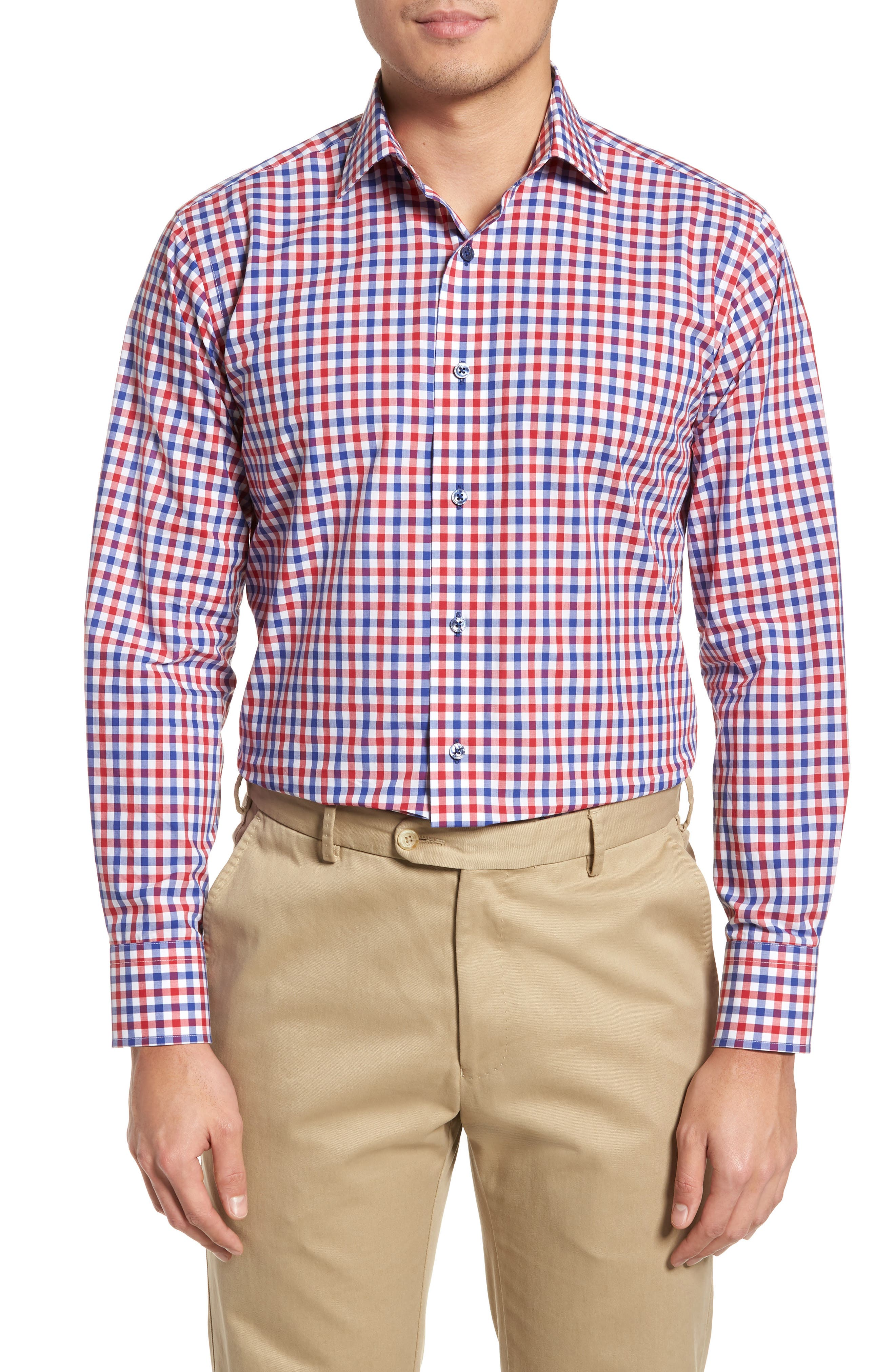 Trim Fit Check Dress Shirt,                         Main,                         color, Navy/ Red