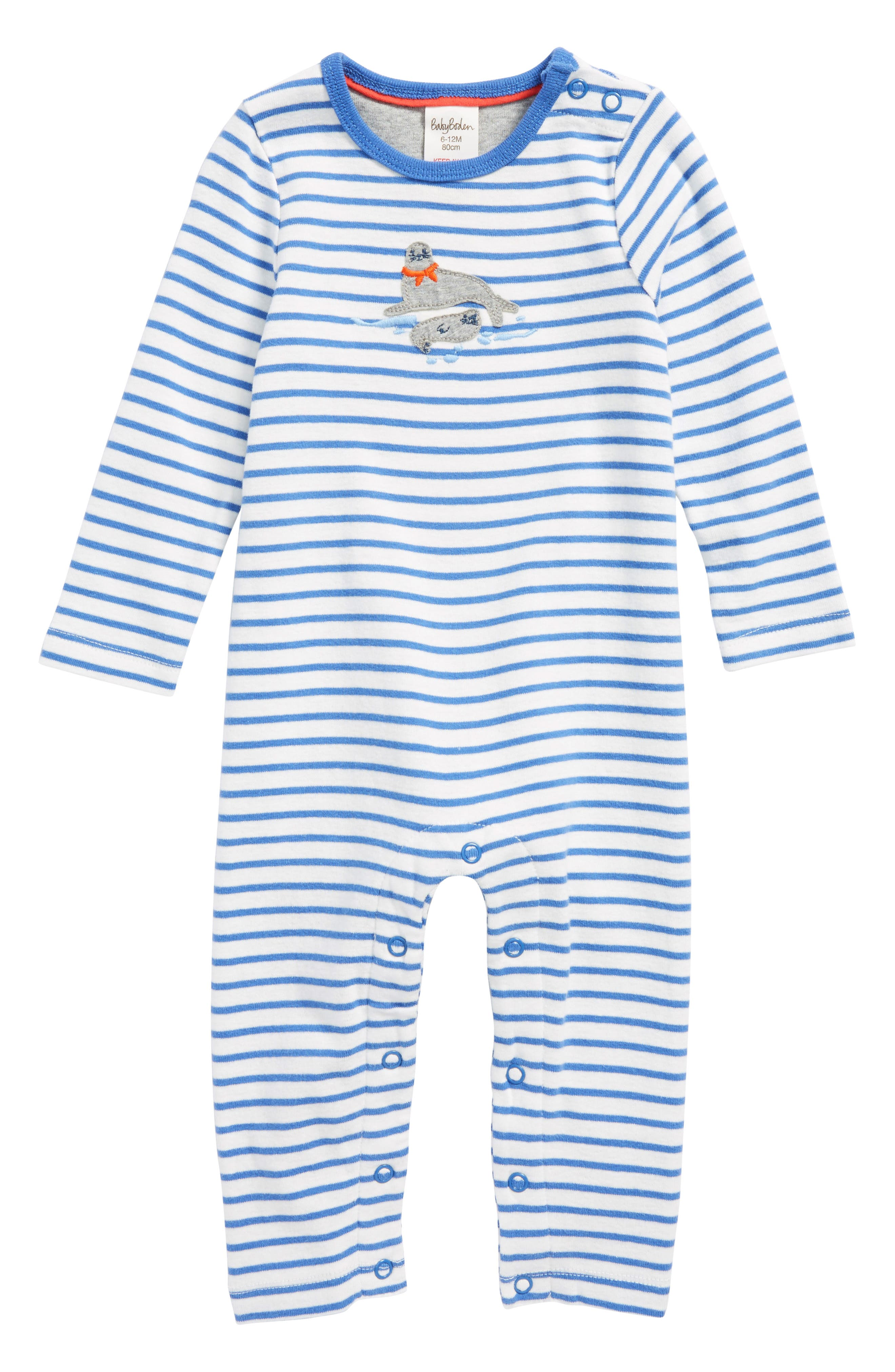 Seal Appliqué Organic Cotton Romper,                         Main,                         color, Ivory/ Stowaway Blue