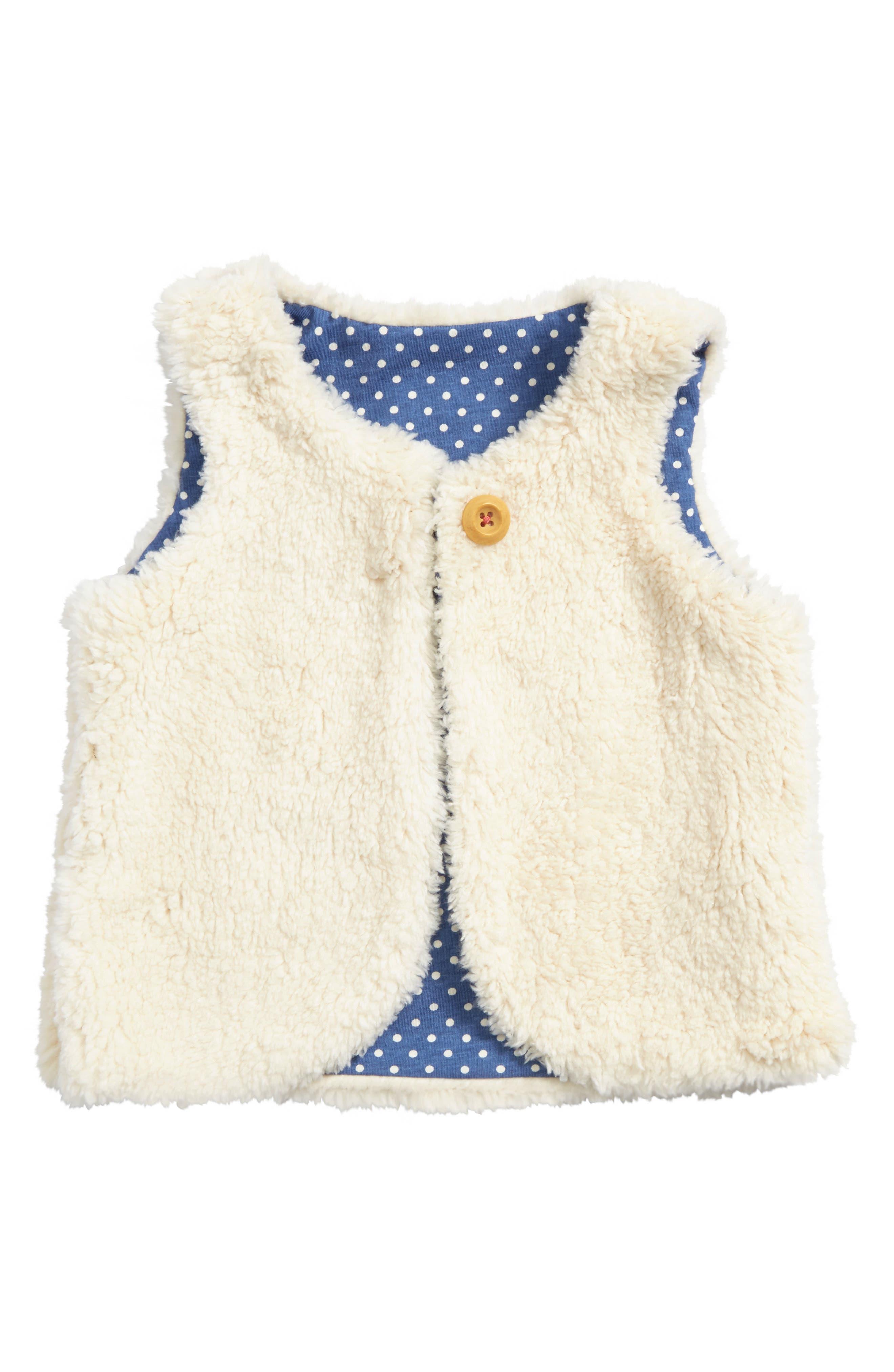 Fuzzy Reversible Vest,                         Main,                         color, Ecru