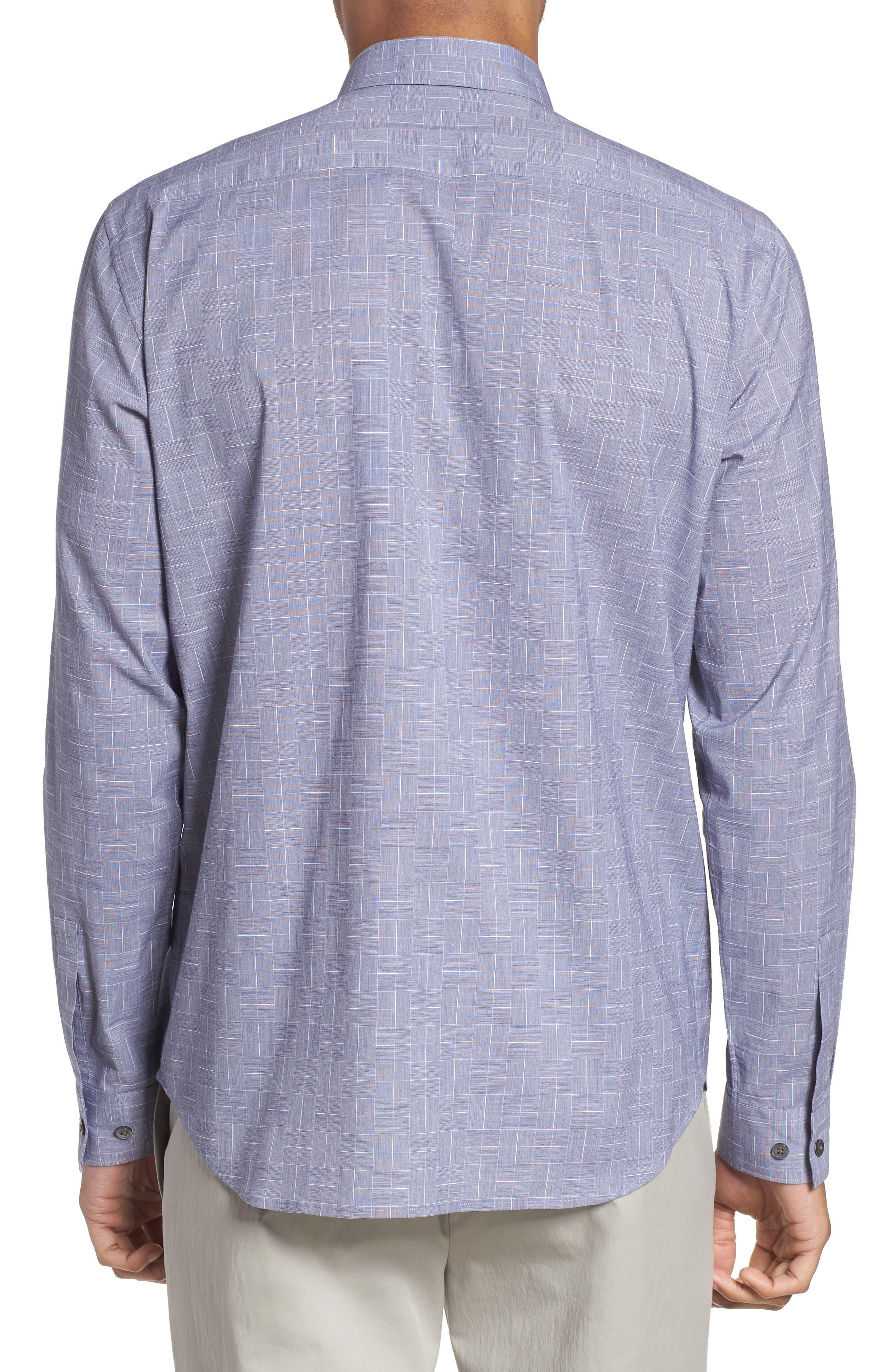 Murrary Indy Regular Fit Solid Cotton & Linen Sport Shirt,                             Alternate thumbnail 3, color,                             Finch