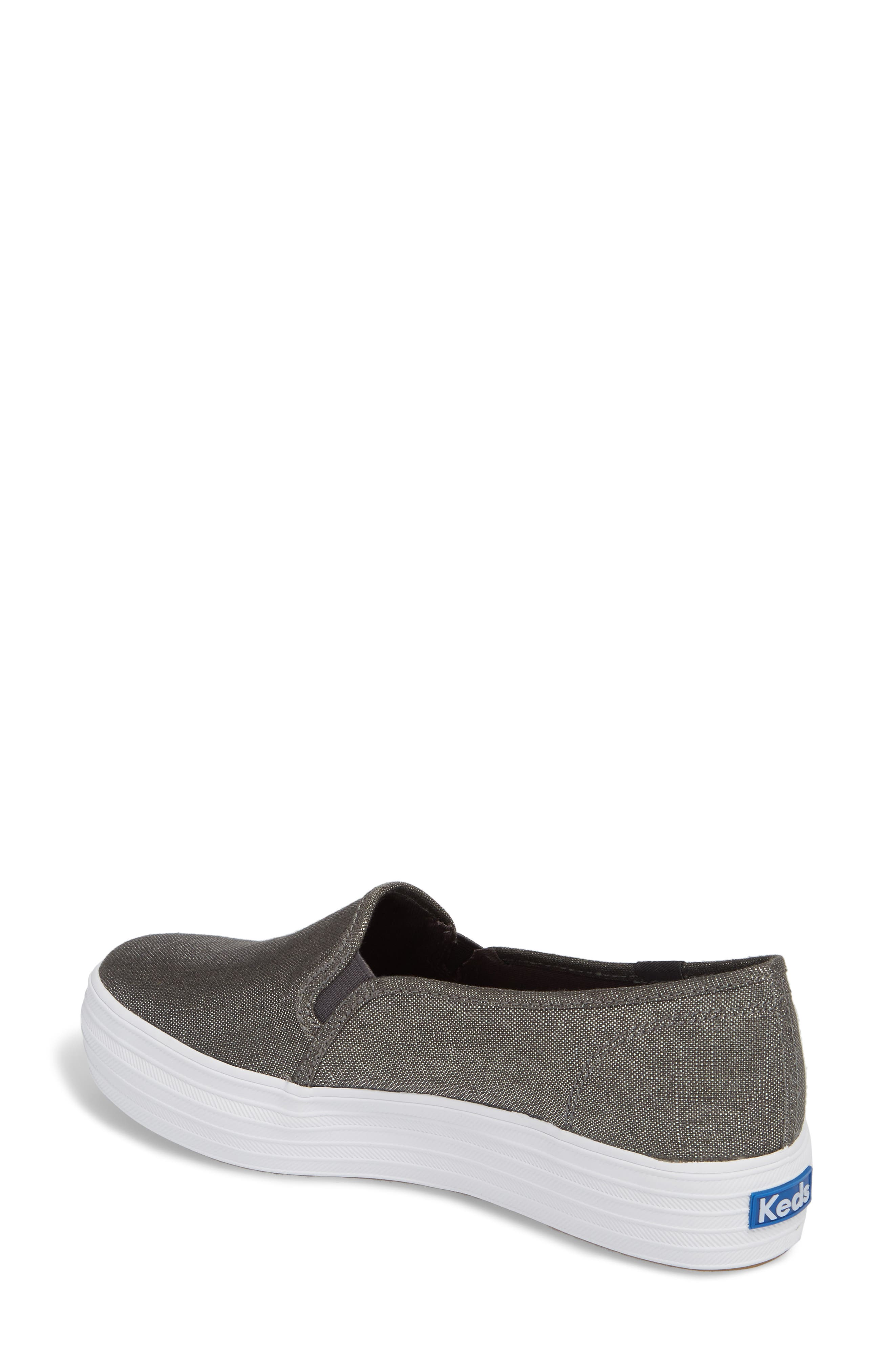 Triple Decker Metallic Linen Slip-On Sneaker,                             Alternate thumbnail 2, color,                             Gunmetal