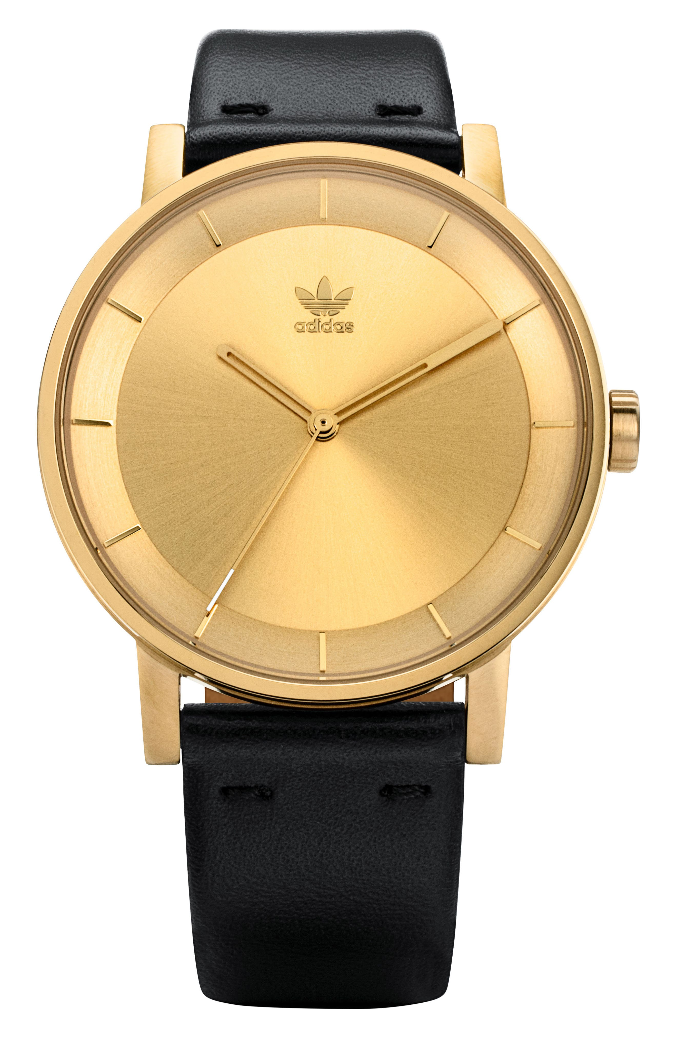 District Leather Strap Watch, 40mm,                         Main,                         color, Black/Gold
