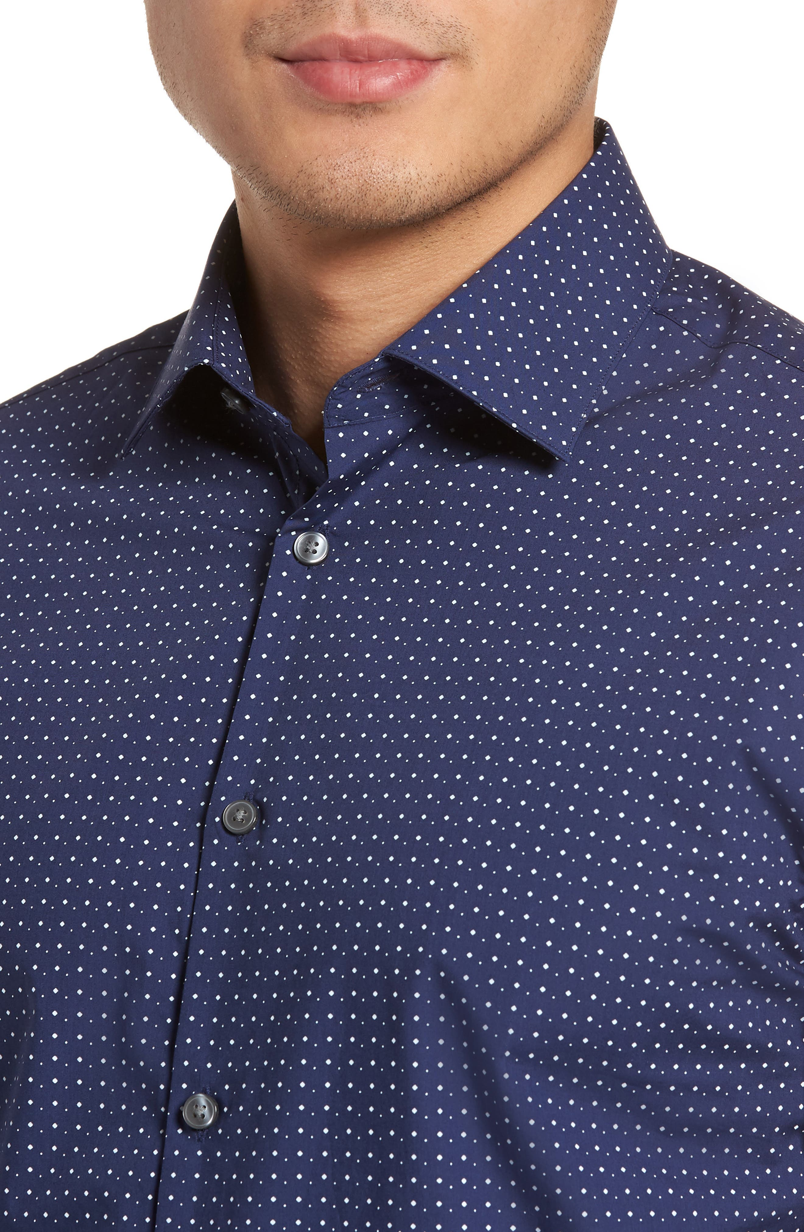 Slim Fit Diamond Dress Shirt,                             Alternate thumbnail 2, color,                             Sapphire