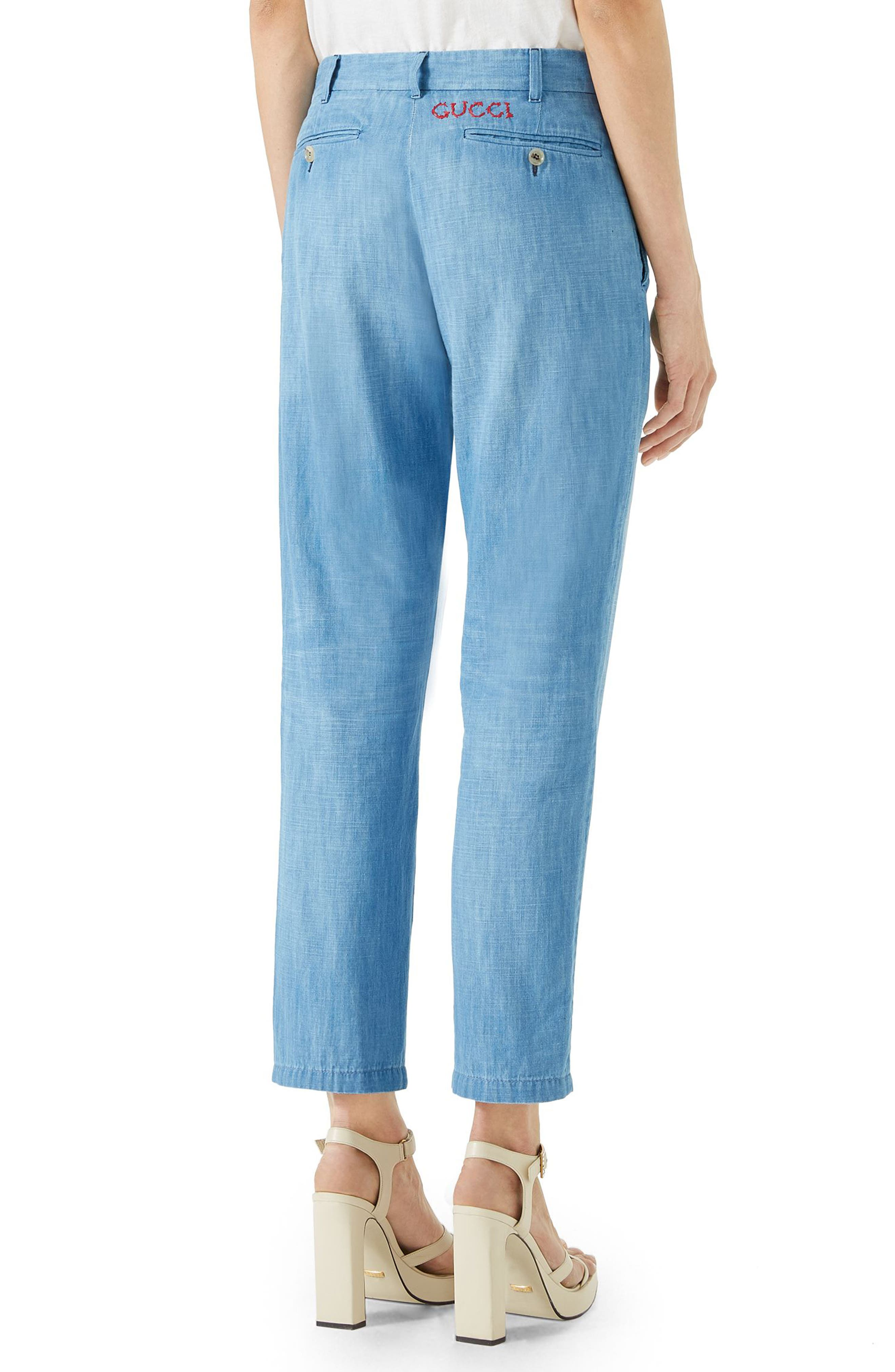 Denim Chino Pants,                             Alternate thumbnail 2, color,                             Light Blue/ Red