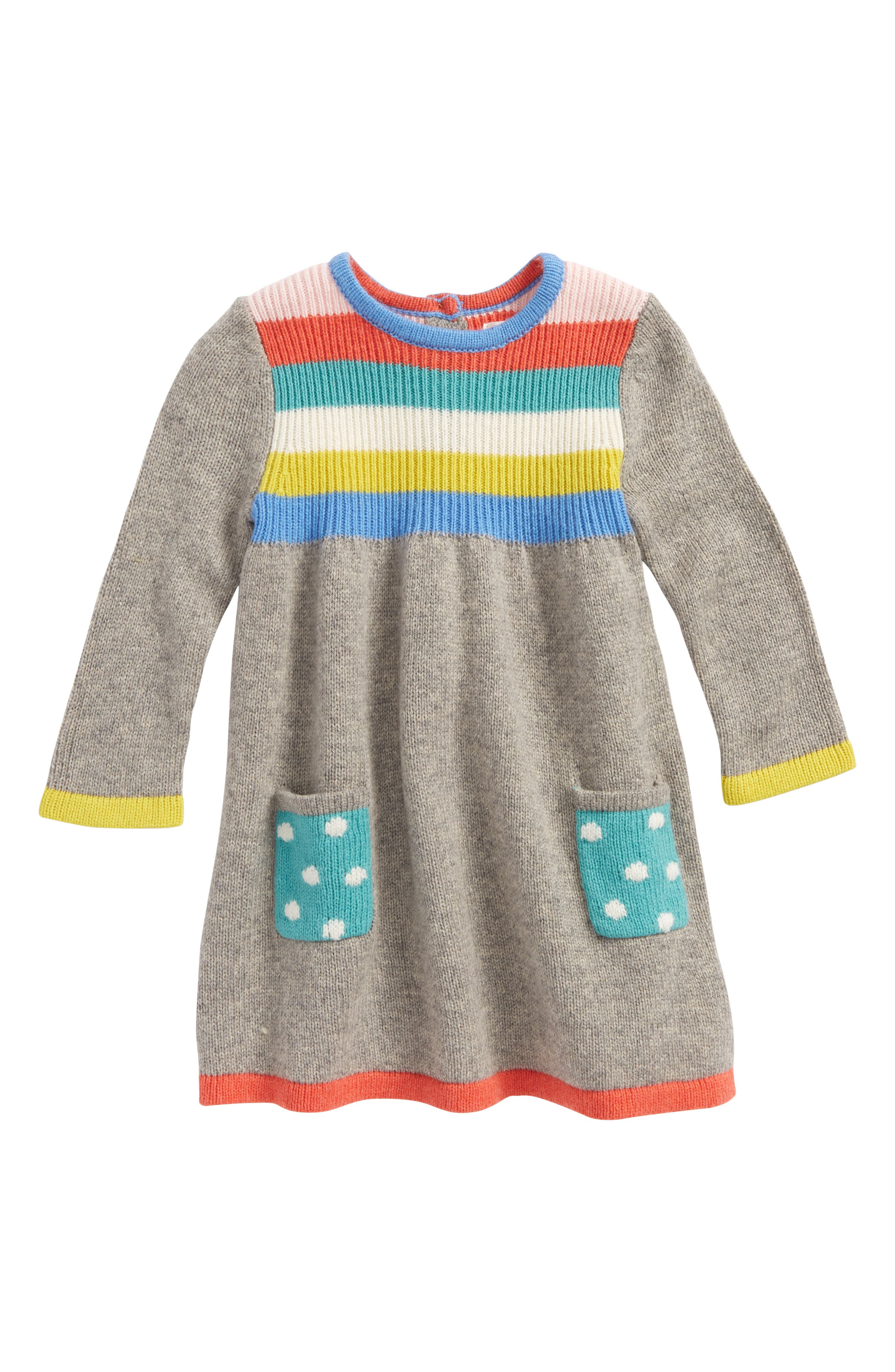 Mini Boden Rainbow Knit Sweater Dress (Baby Girls & Toddler Girls)