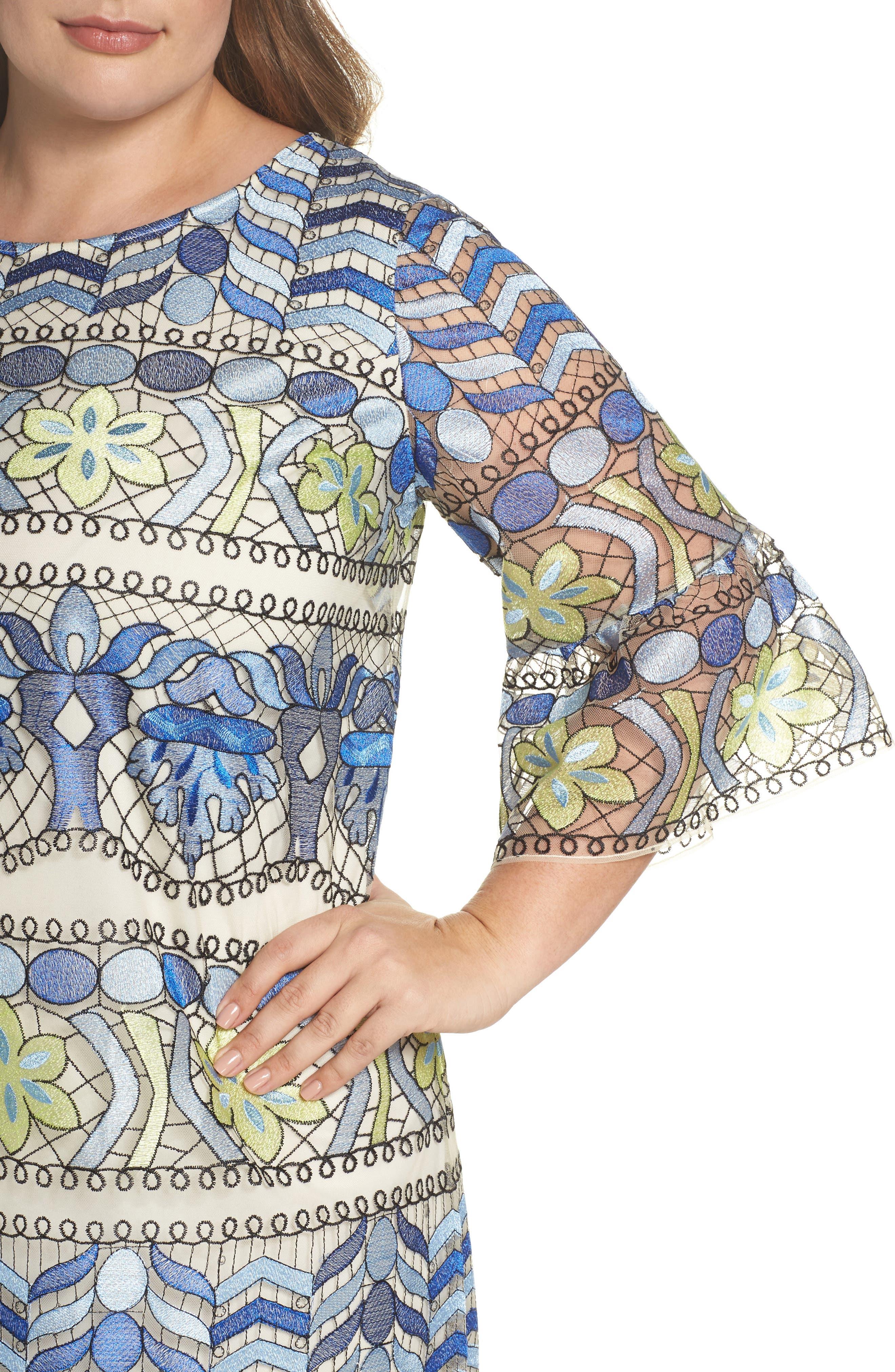 Emboidered Ruffle Sleeve Dress,                             Alternate thumbnail 4, color,                             Blue