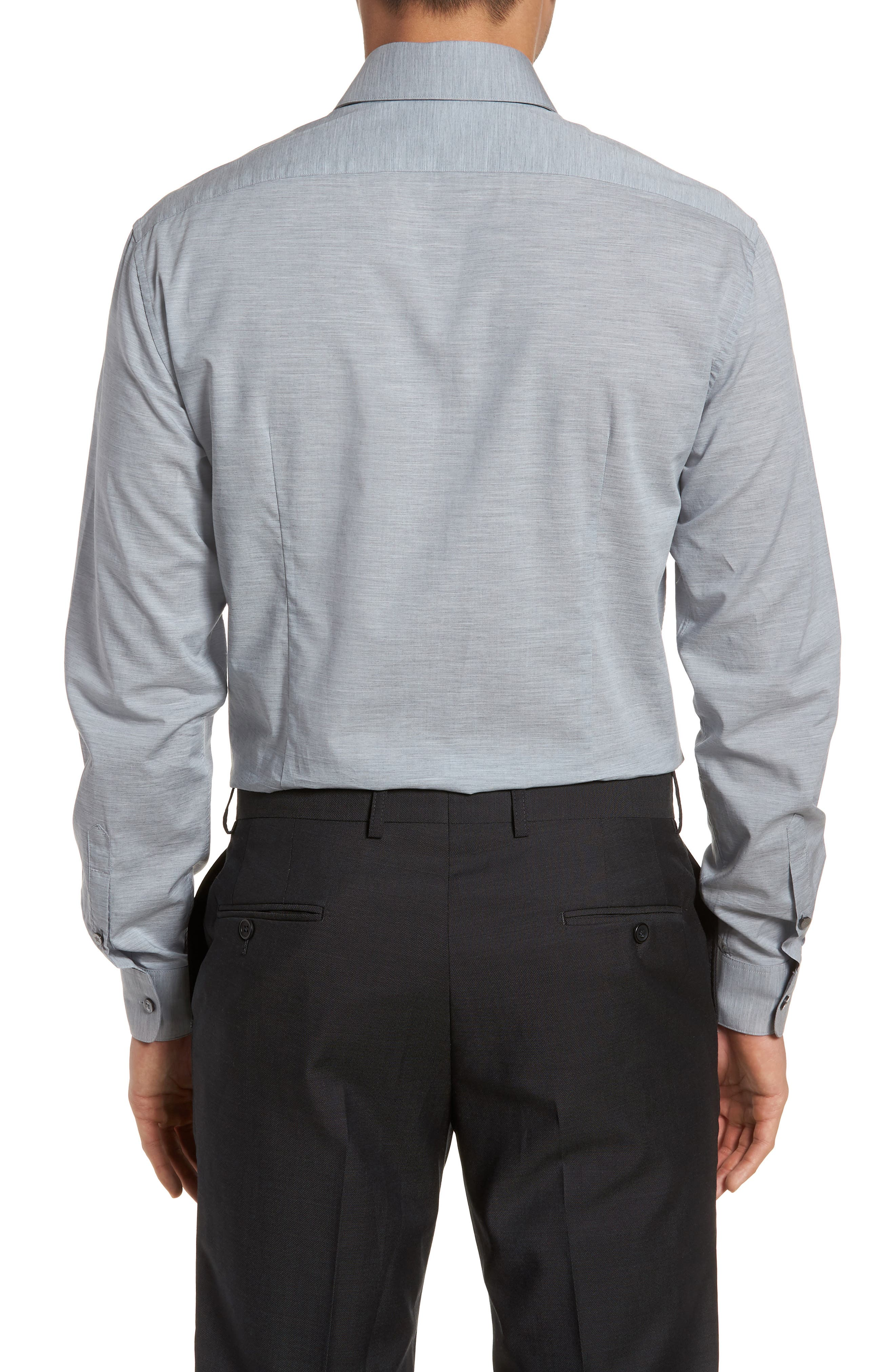 Slim Fit Stretch Solid Dress Shirt,                             Alternate thumbnail 3, color,                             Heather