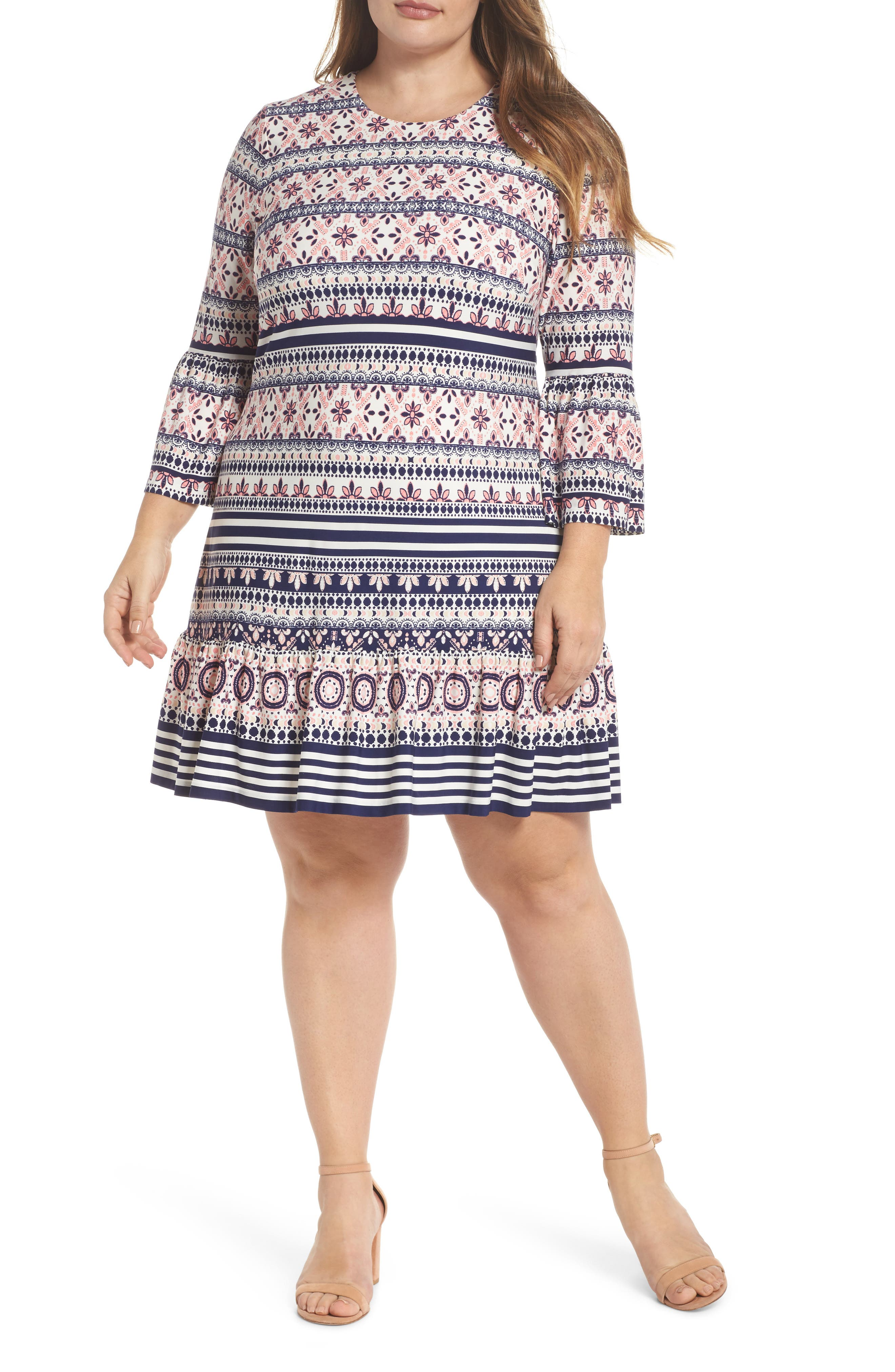 Print Fit & Flare Dress,                             Main thumbnail 1, color,                             Pink/ Ivory/ Blue