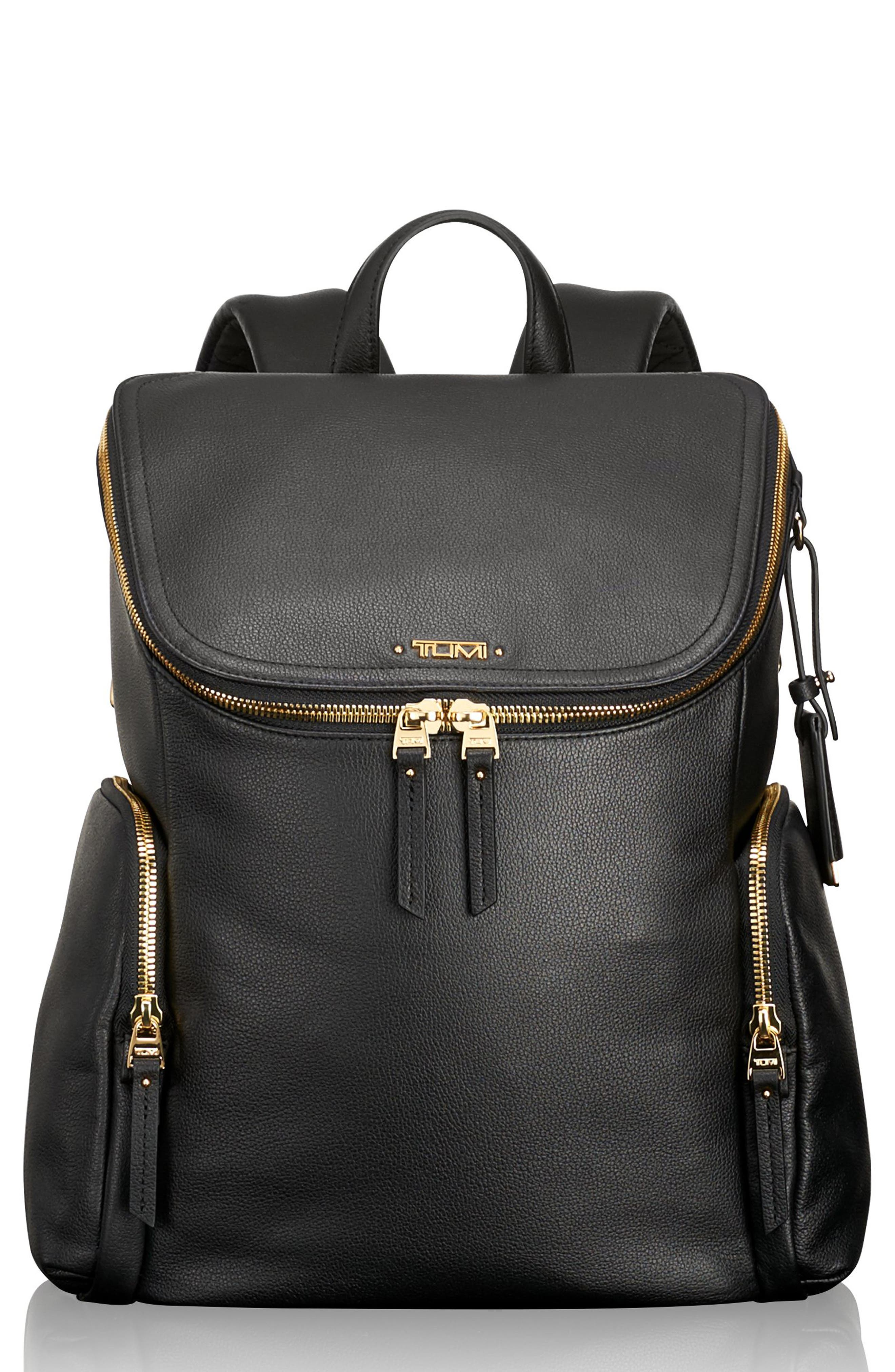 Voyageur Lexa Leather Backpack,                         Main,                         color, Black