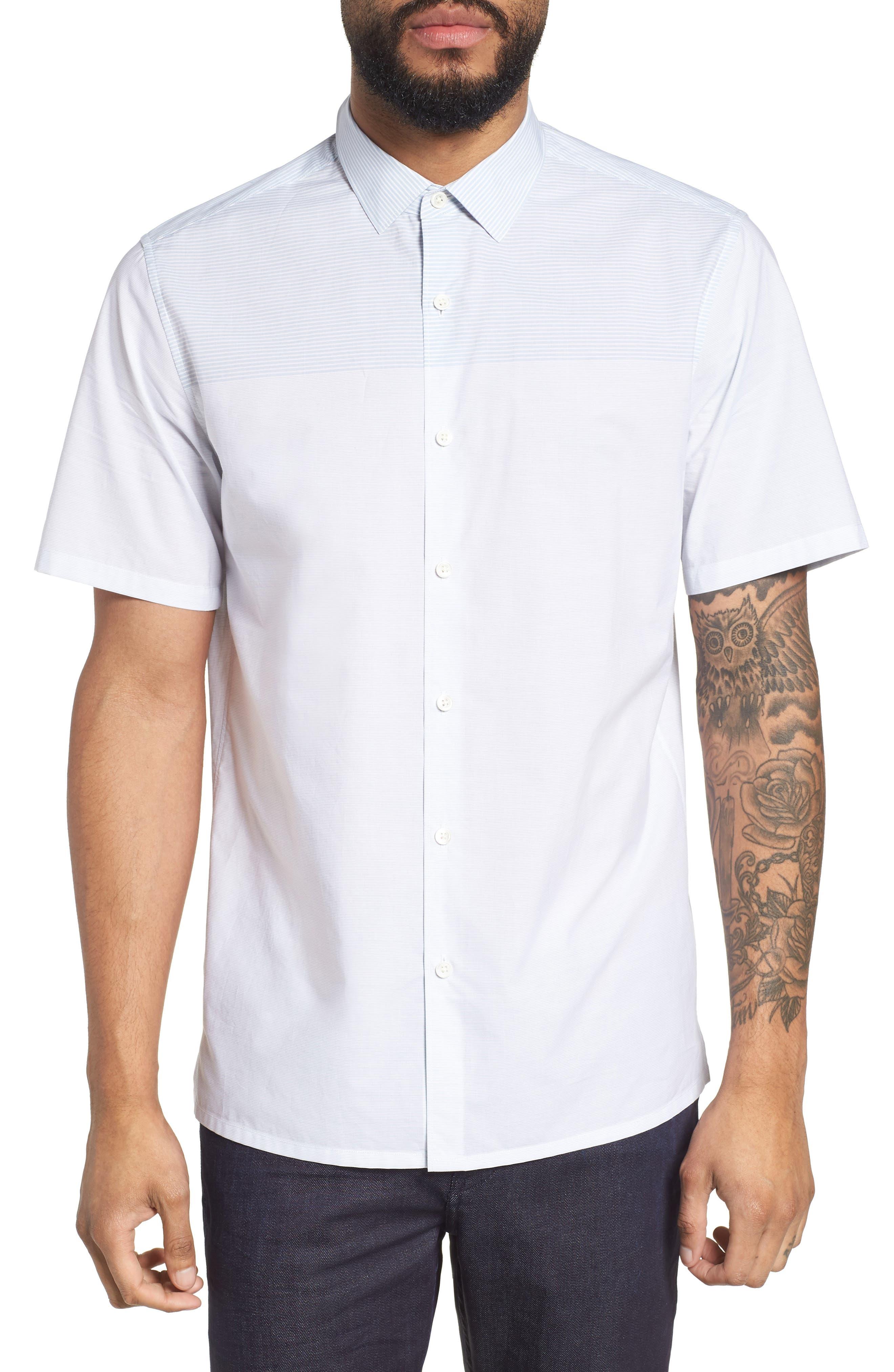 Theory Murrary Regular Fit Stripe Short Sleeve Sport Shirt