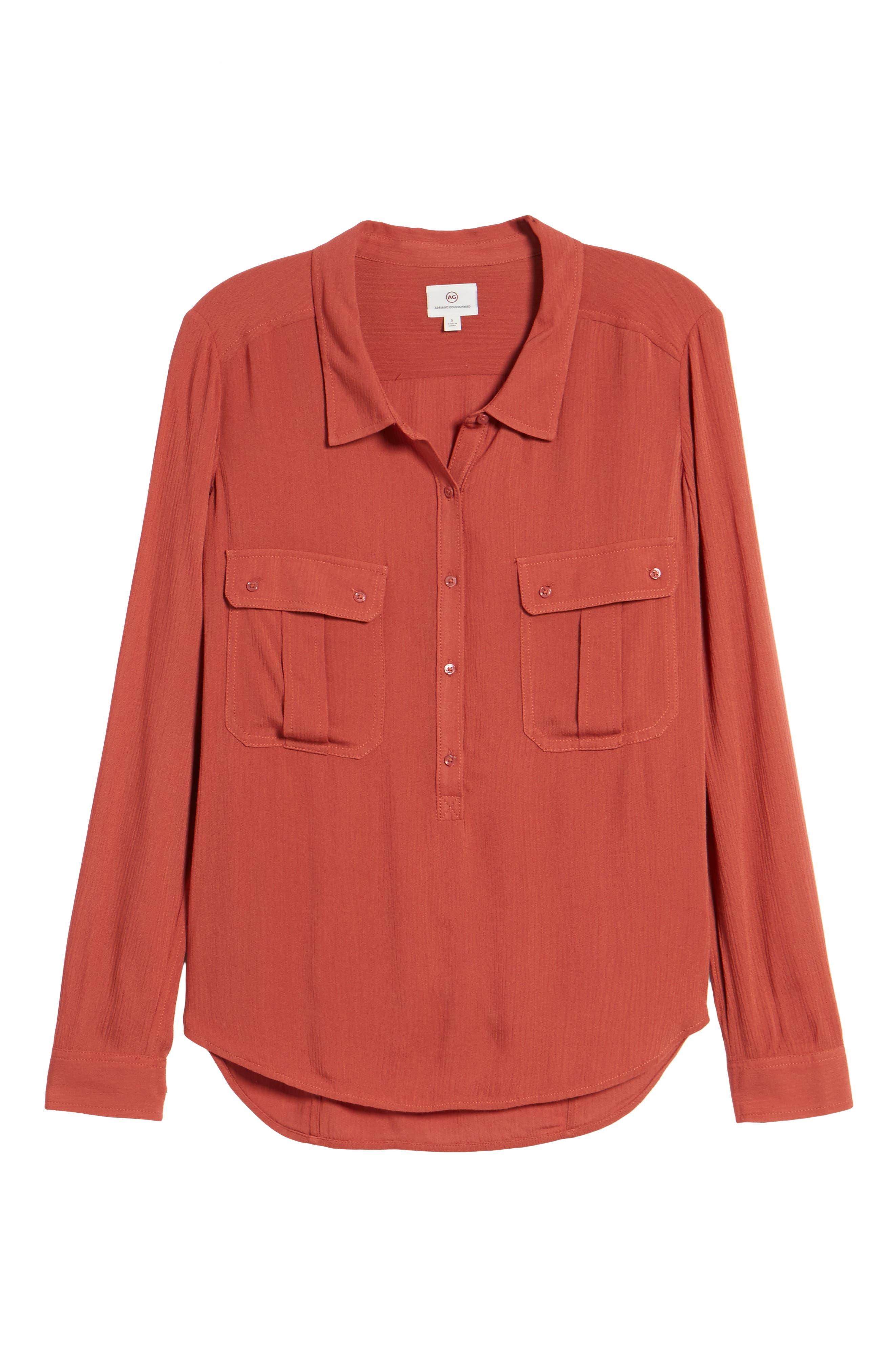 Nevada Cotton Henley Shirt,                             Alternate thumbnail 6, color,                             Firebrick