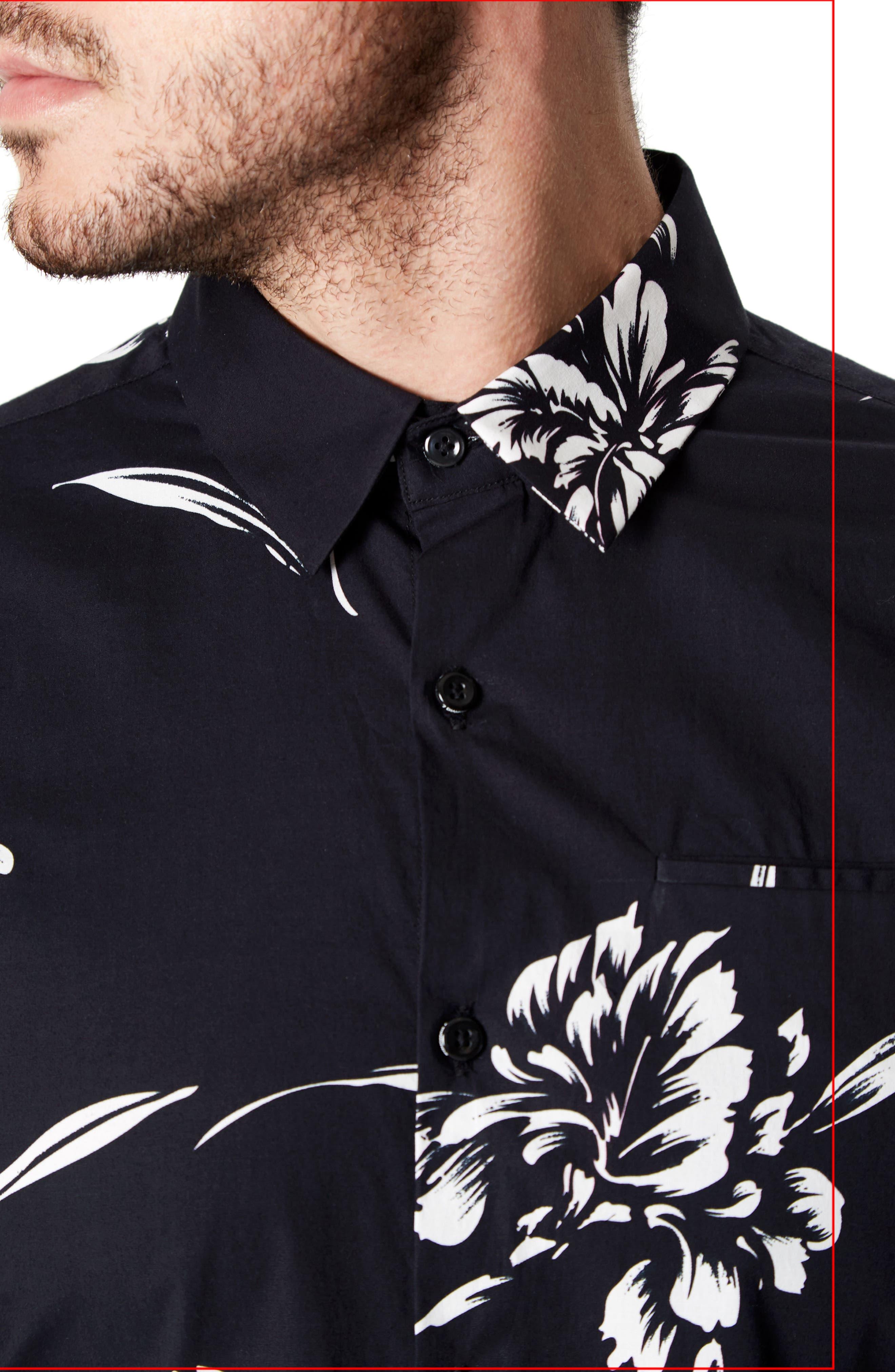 Harvest Moon Trim Fit Short Sleeve Sport Shirt,                             Alternate thumbnail 4, color,                             Black