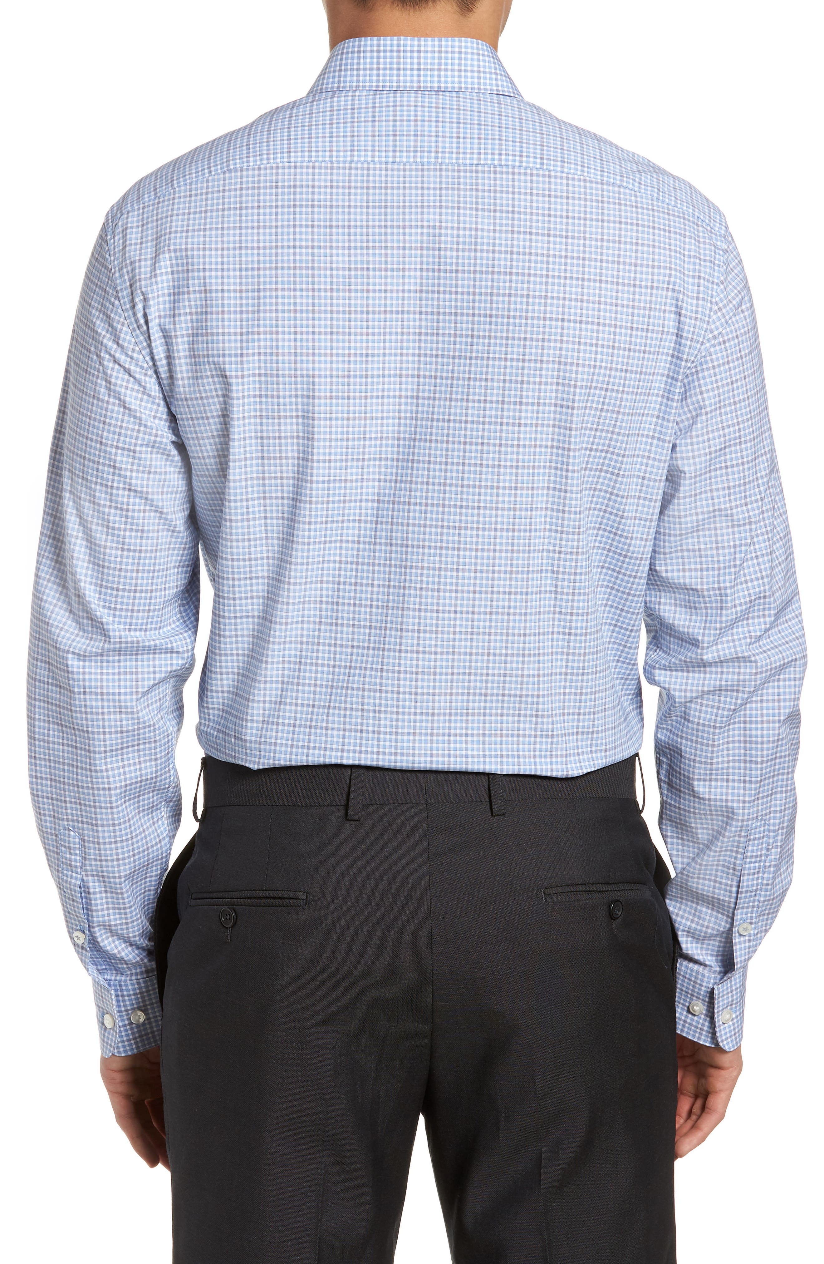 Regular Fit Stretch Check Dress Shirt,                             Alternate thumbnail 3, color,                             Sky