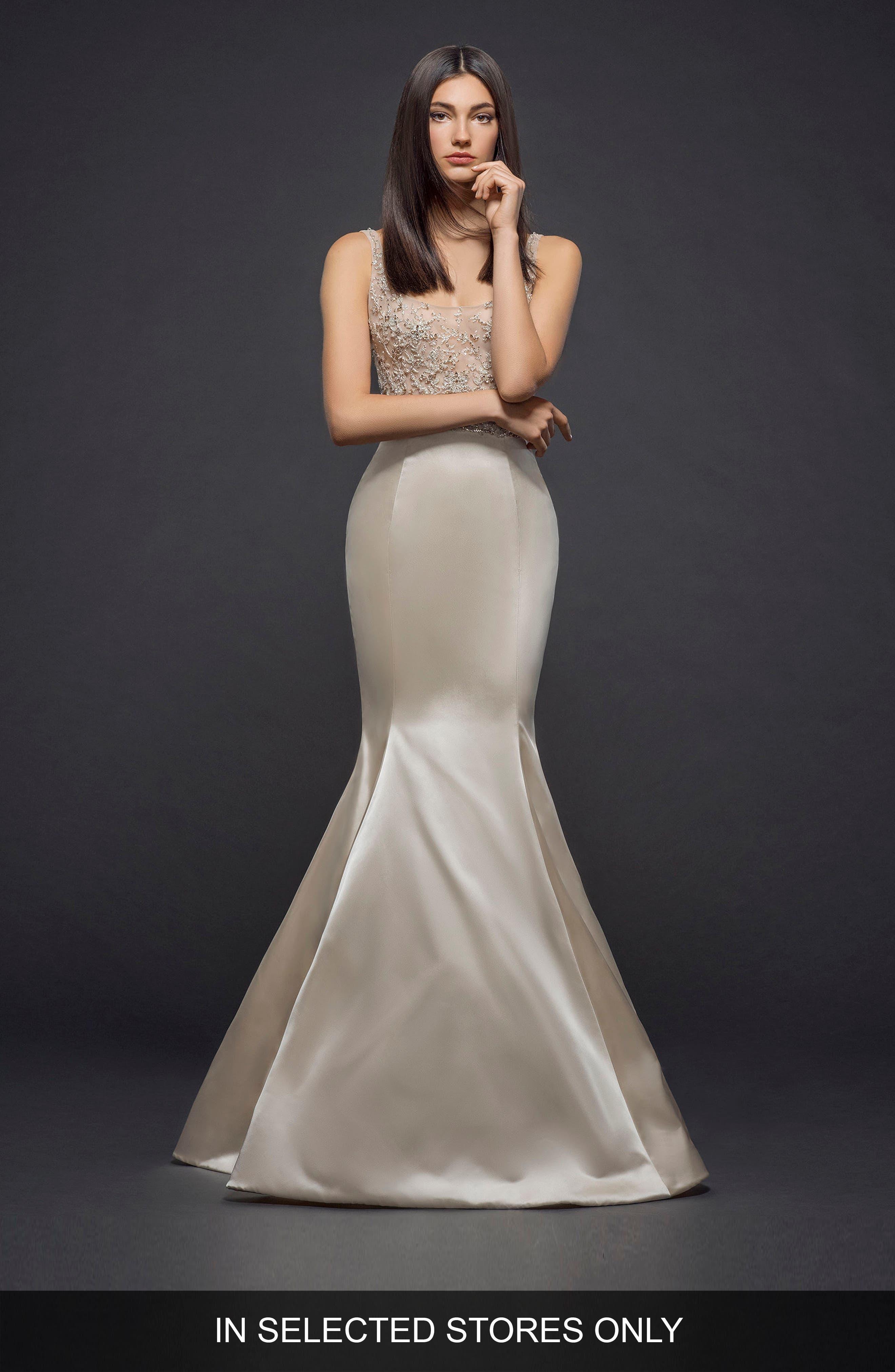 Lazaro Beaded Bodice Satin Mermaid Gown