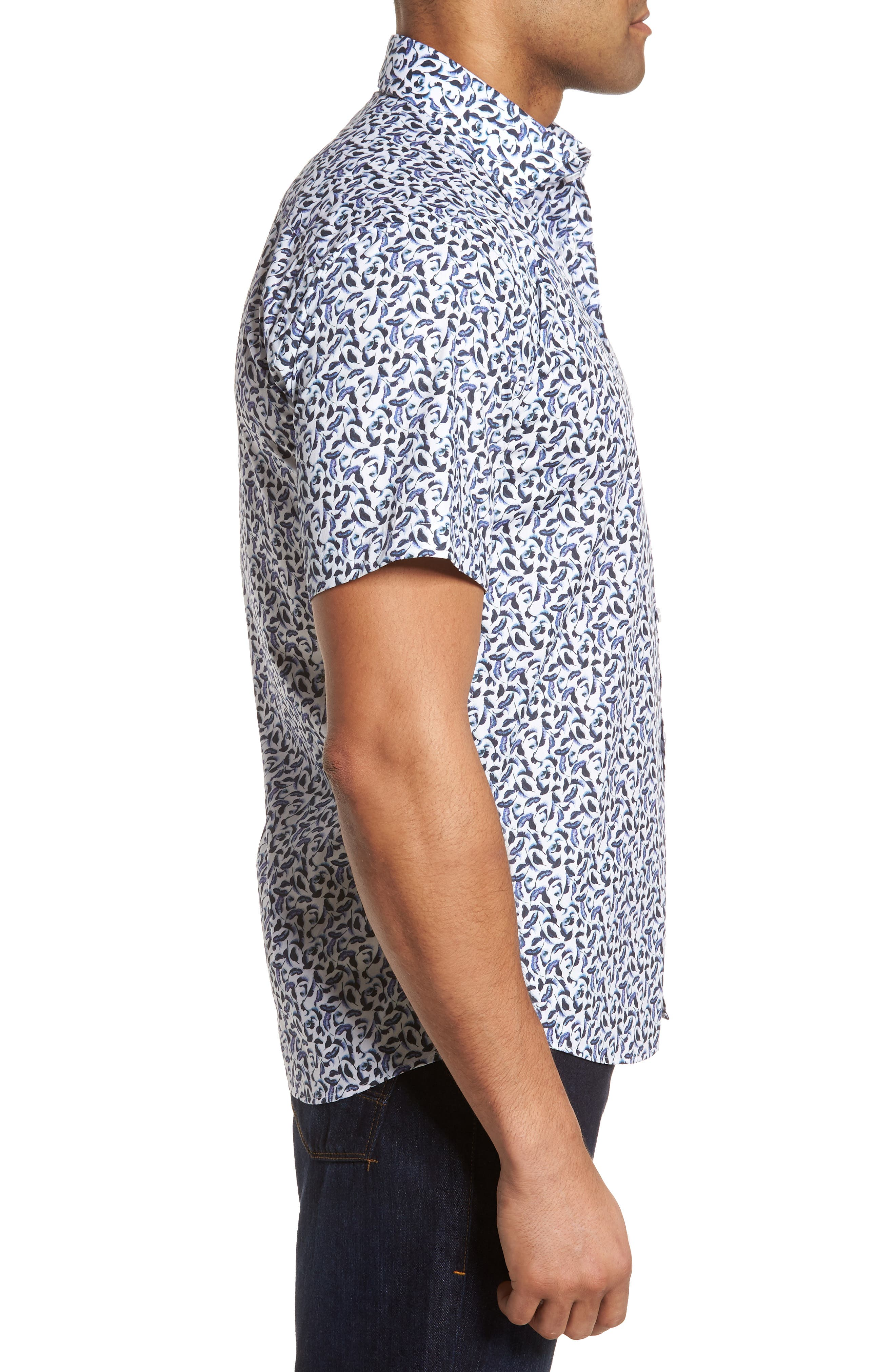 Slim Fit Feather Print Sport Shirt,                             Alternate thumbnail 4, color,                             White Navy Leaves