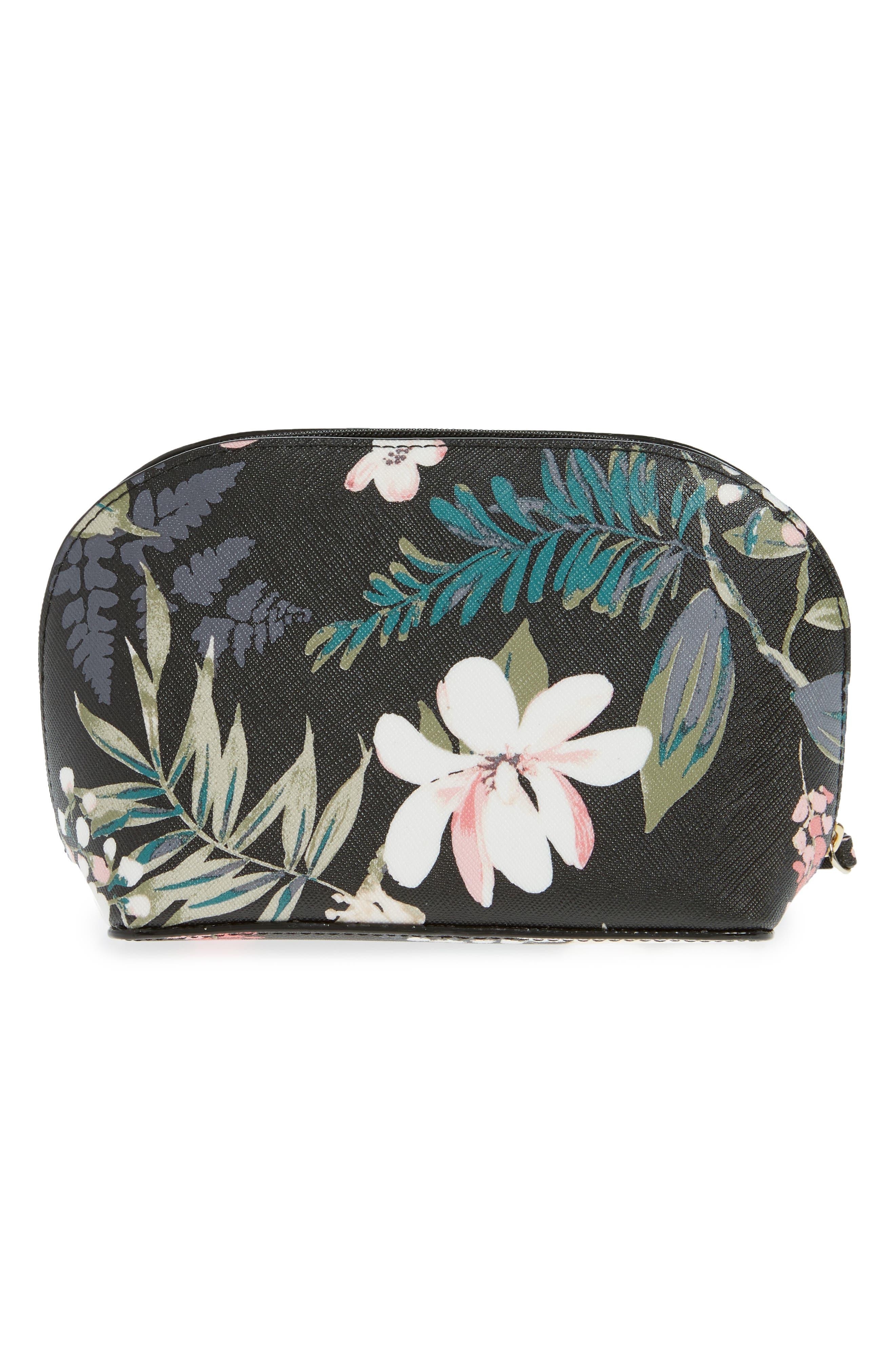 cameron street - small botanical abalene faux leather cosmetics case,                             Alternate thumbnail 2, color,                             Black Multi