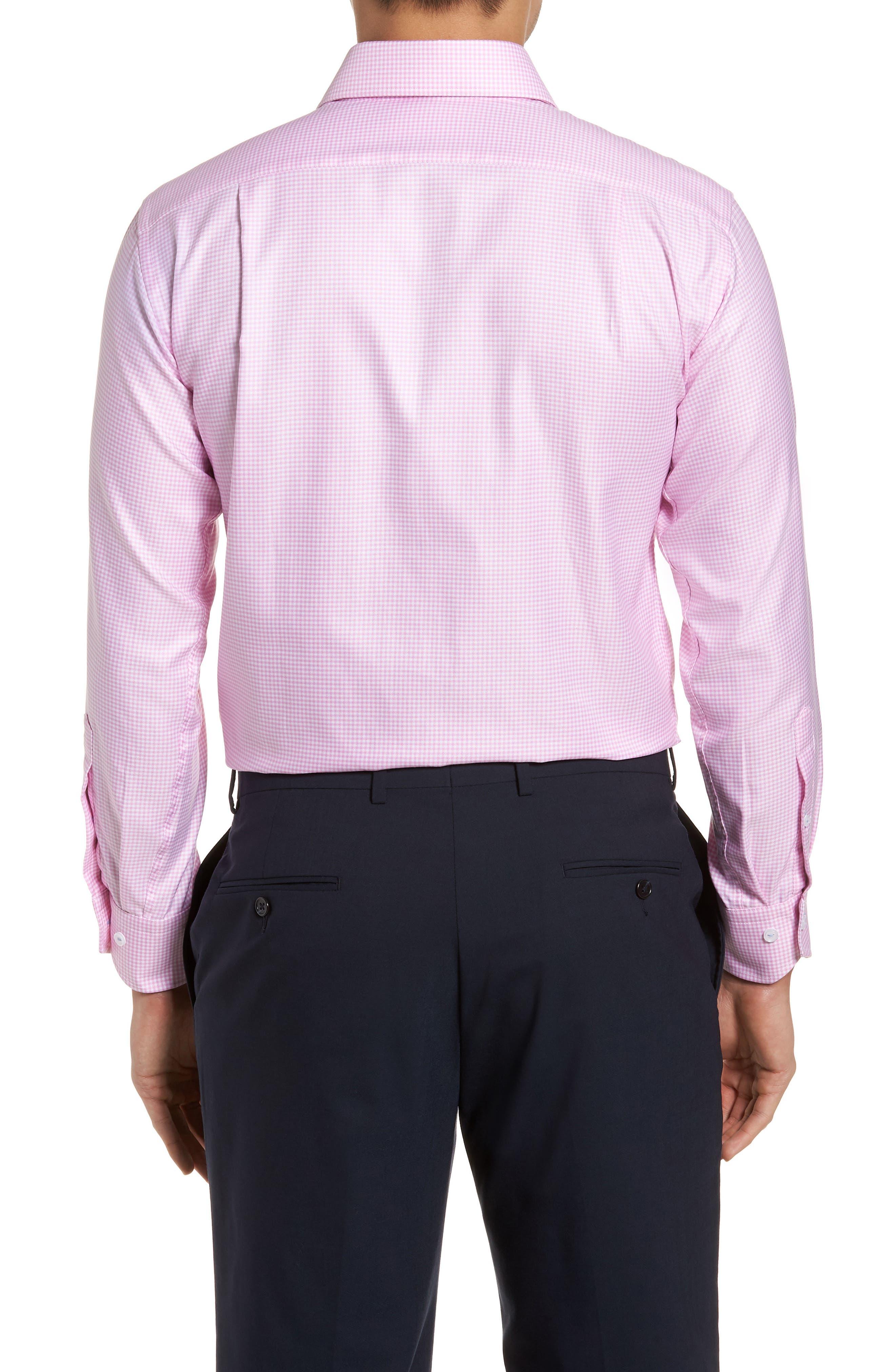 Trim Fit Textured Gingham Dress Shirt,                             Alternate thumbnail 3, color,                             Pink