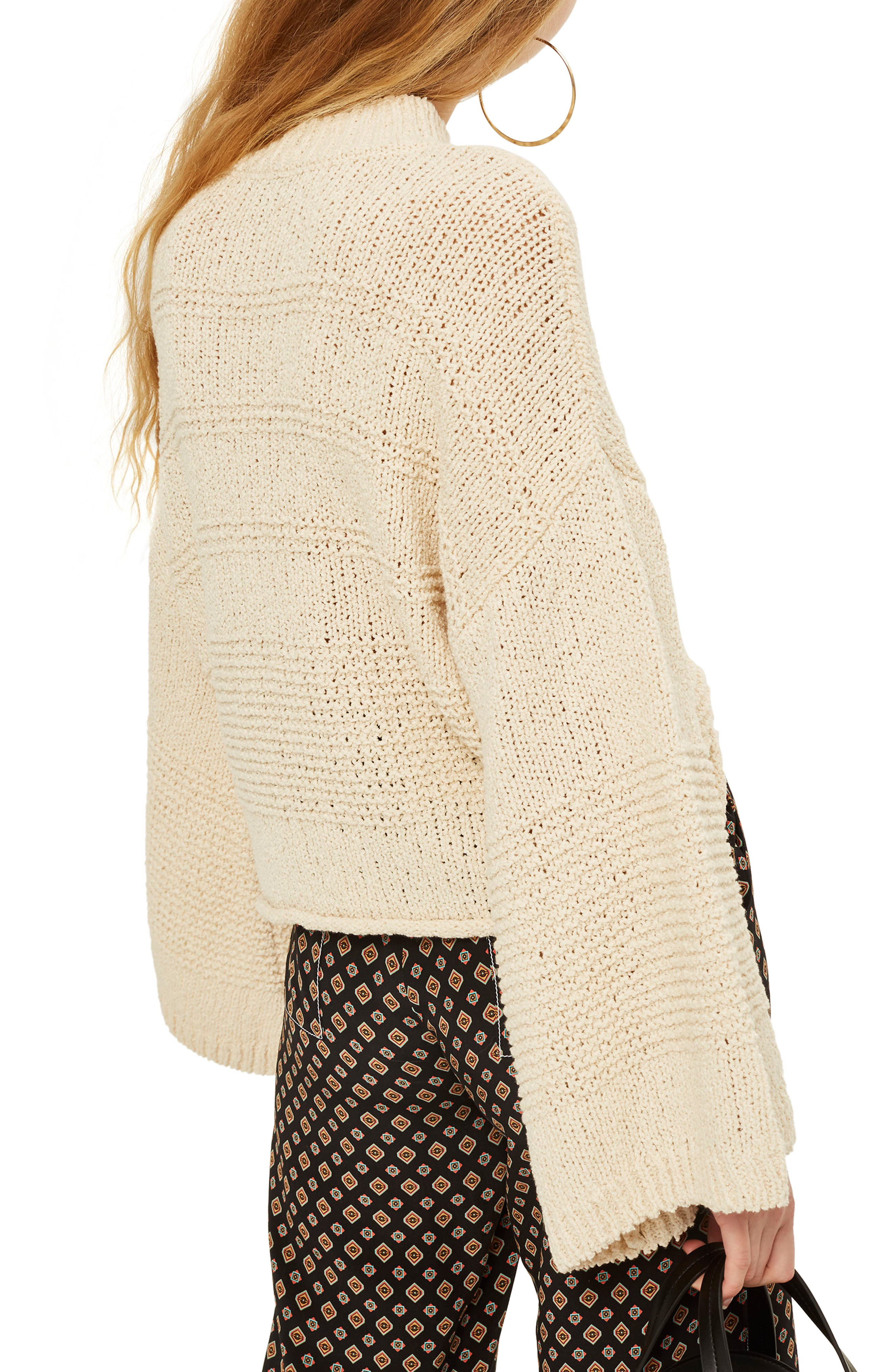Natural Yarn Bell Sleeve Sweater,                             Alternate thumbnail 2, color,                             Ivory