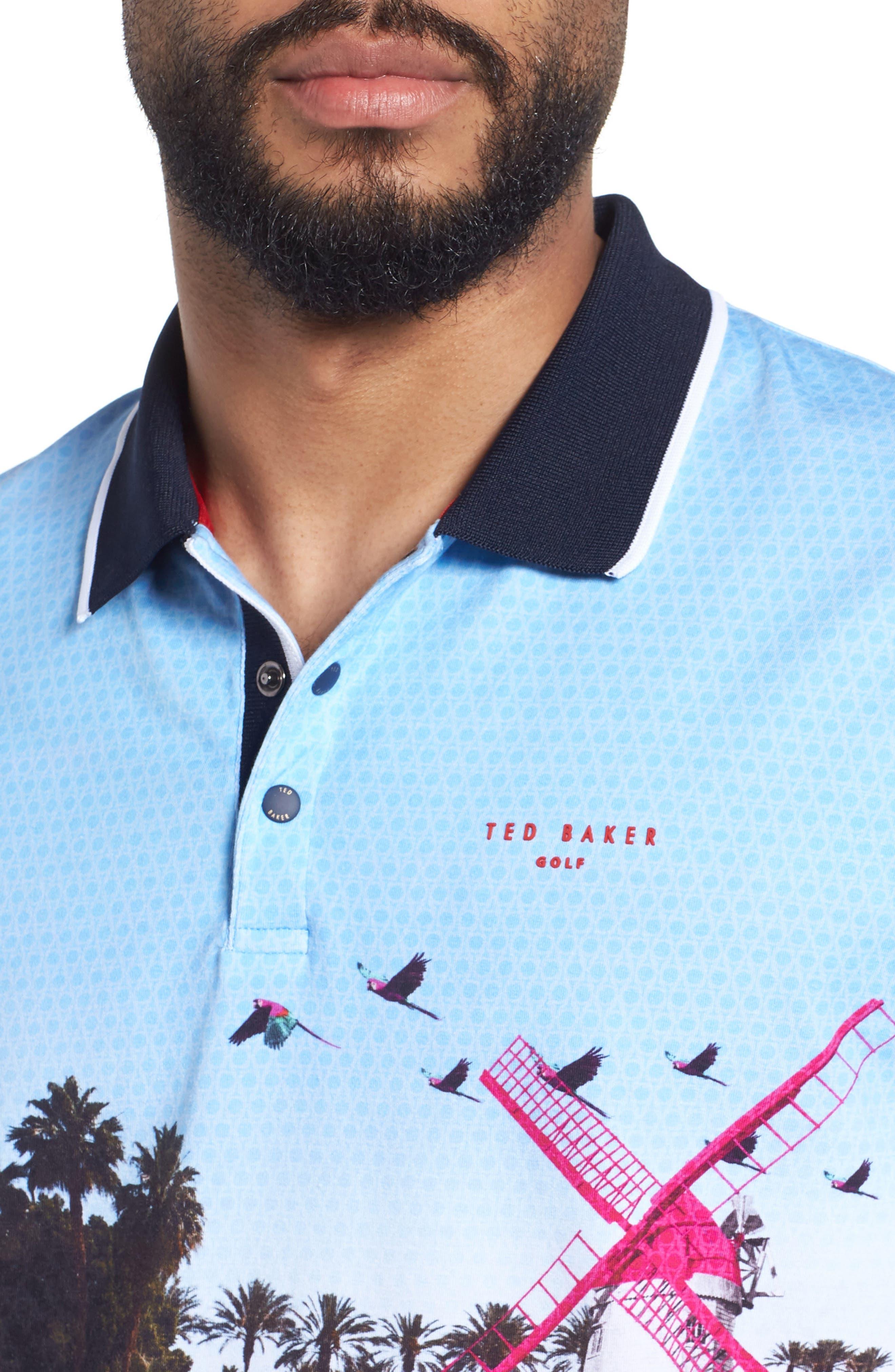 Placement Trim Fit Golf Polo,                             Alternate thumbnail 4, color,                             Blue