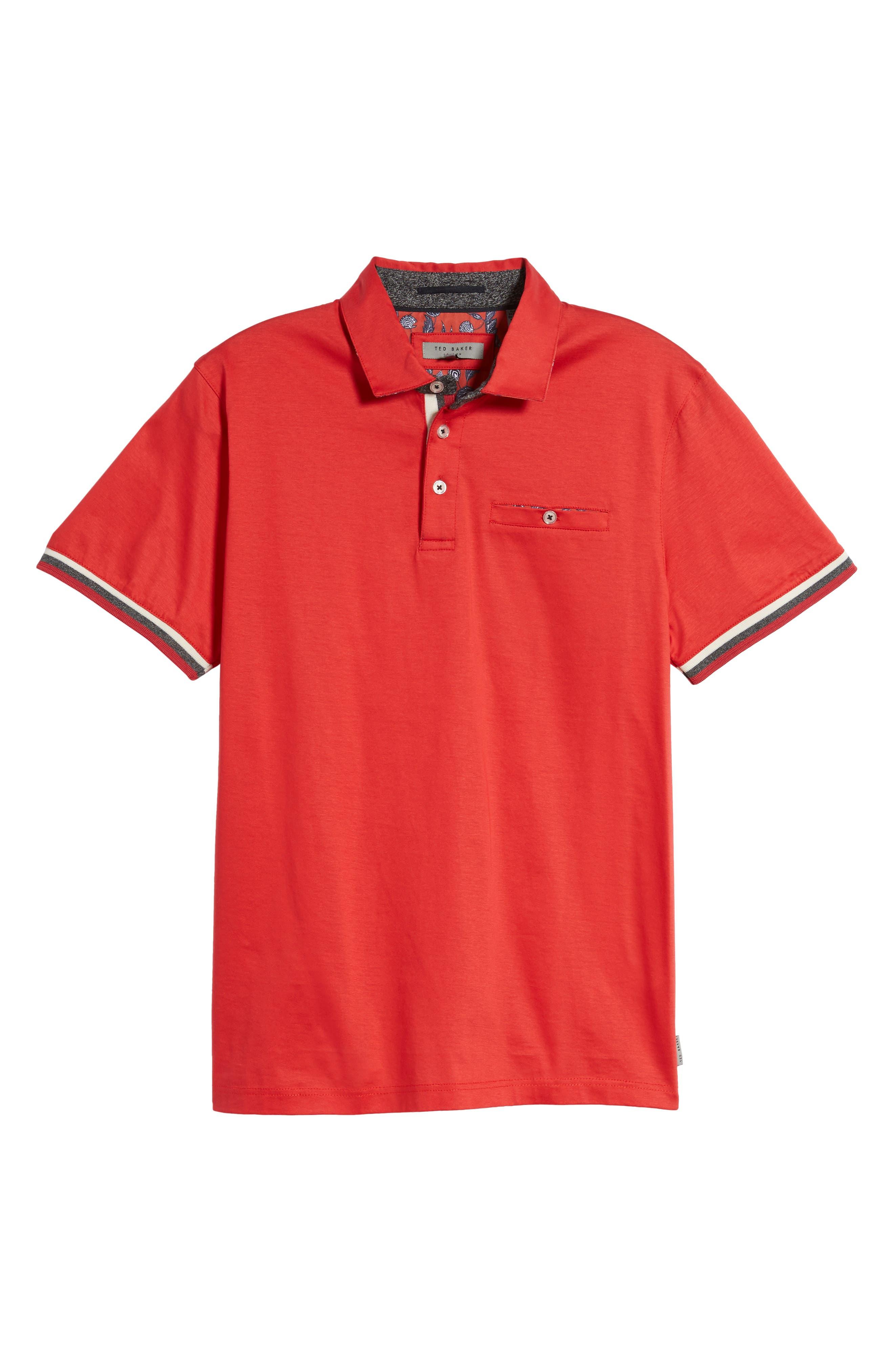 Puggltt Trim Fit Stripe Polo,                             Alternate thumbnail 6, color,                             Coral