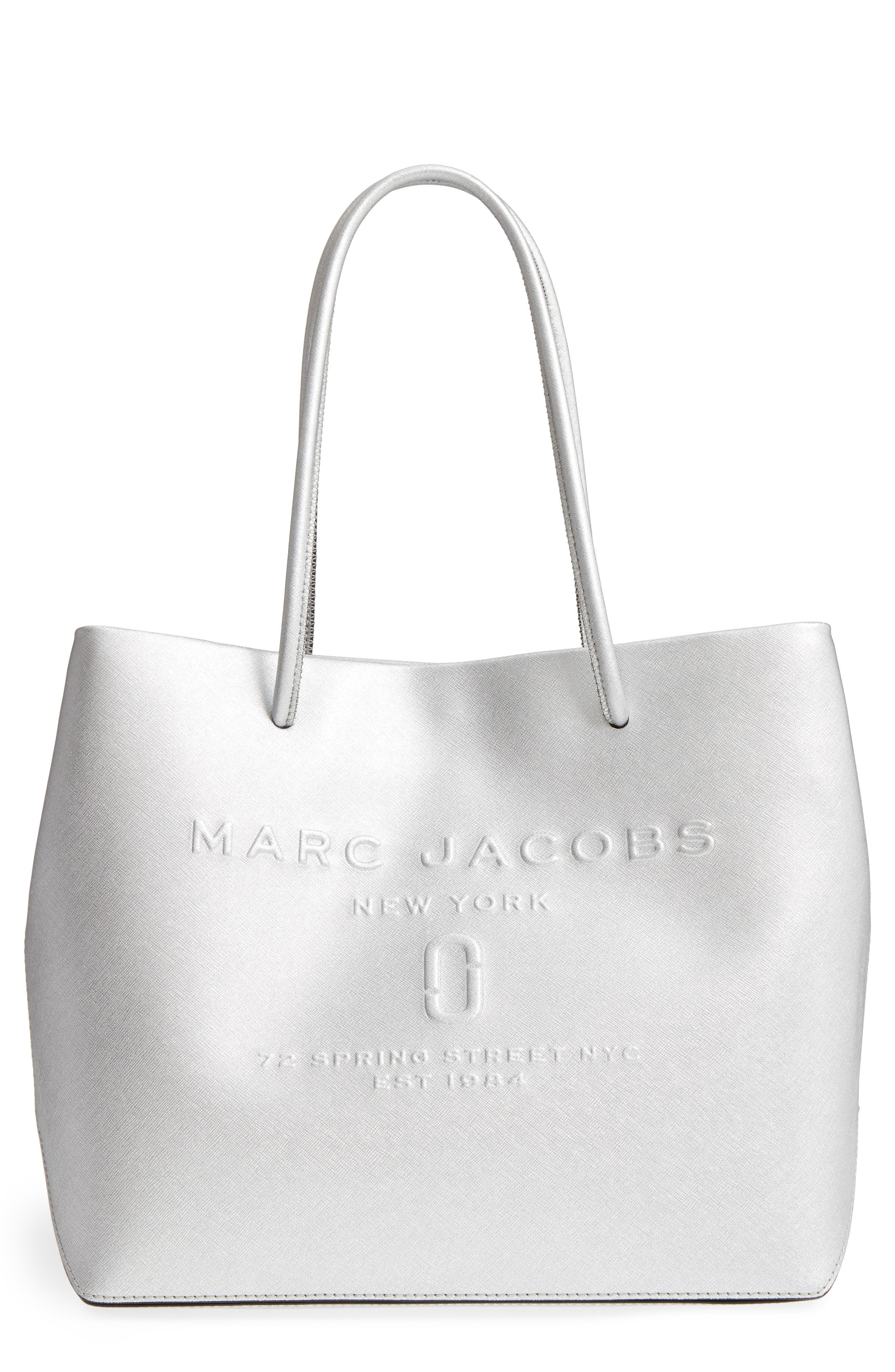 MARC JACOBS Leather Logo Shopper Tote. GOLD; SILVER