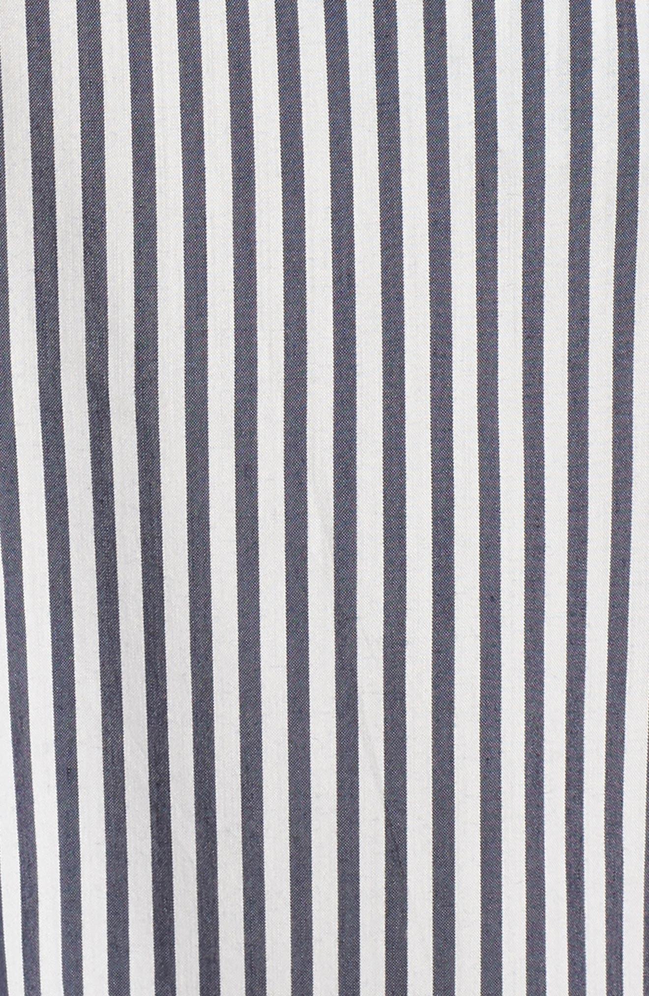 Drinks On Me Stripe Ruffle Midi Dress,                             Alternate thumbnail 5, color,                             Navy/ White Mini Stripe