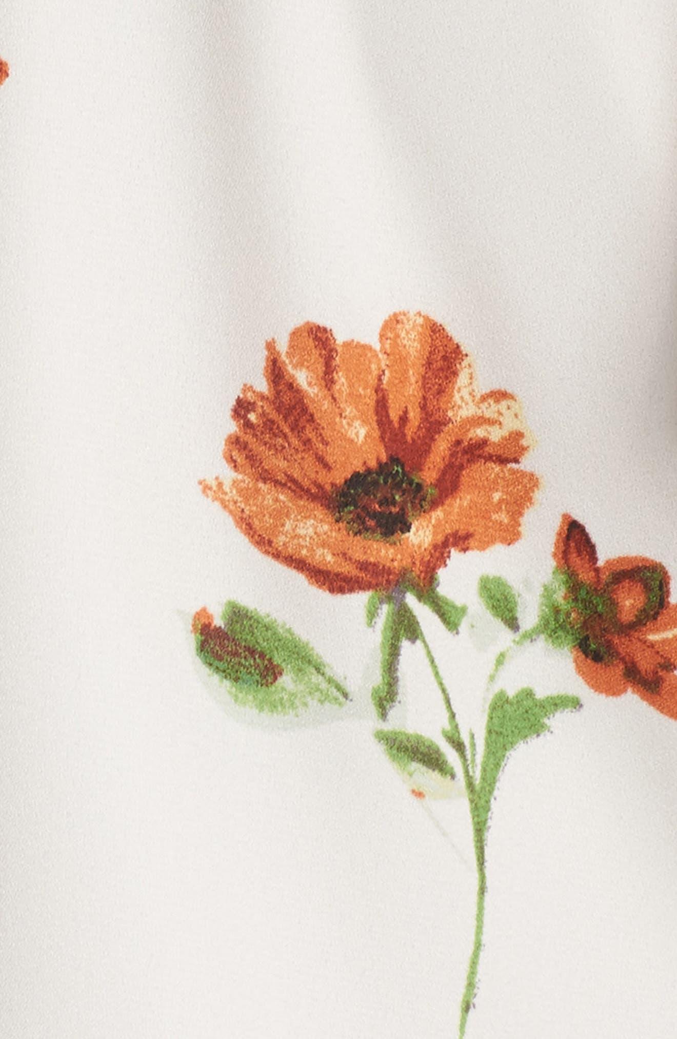 Silverlake Floral Ruffle Romper,                             Alternate thumbnail 5, color,                             Rust Field Flowers
