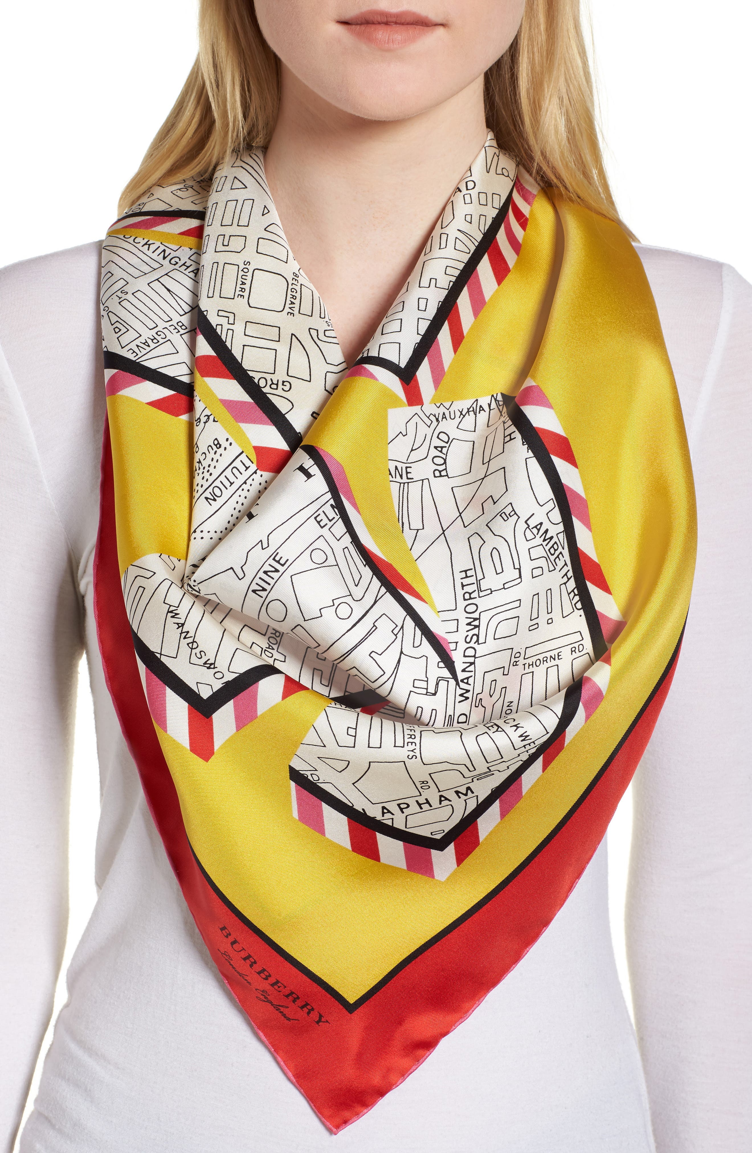 London Map Silk Square Scarf,                             Alternate thumbnail 2, color,                             Bright Yellow