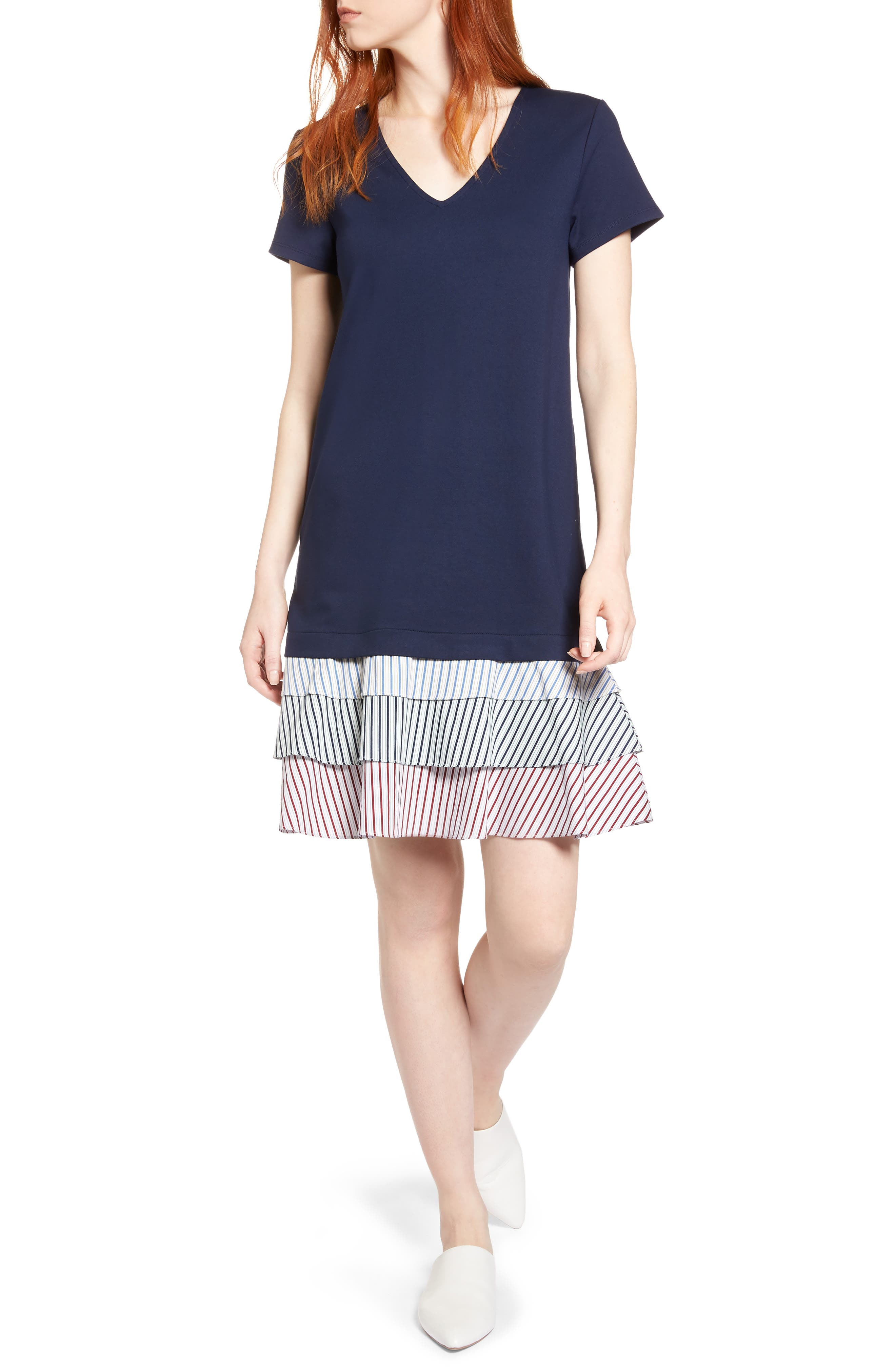 Halogen® Ruffle Hem Knit Dress (Regular & Petite)