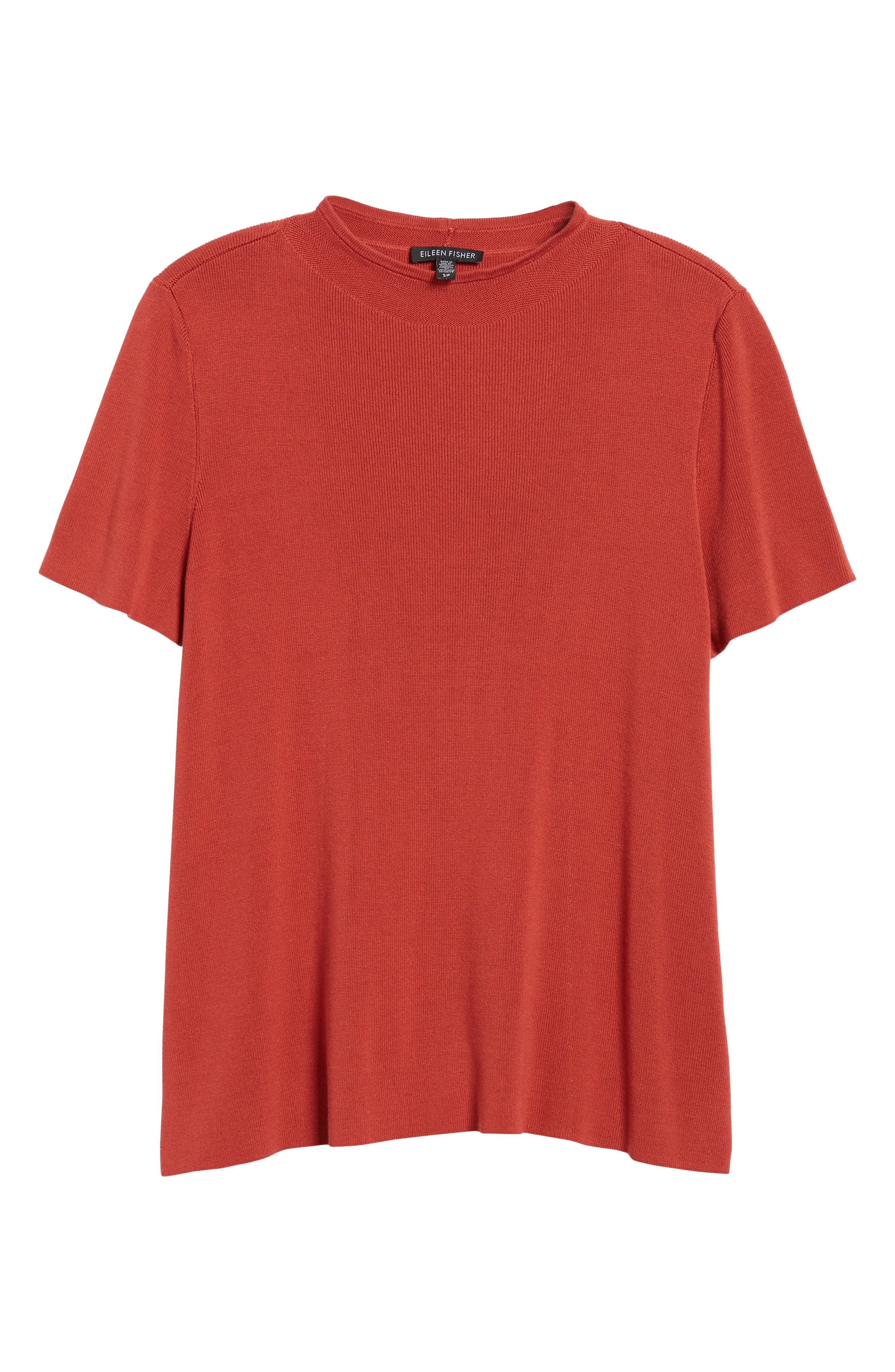 Tencel<sup>®</sup> Lyocell Knit Sweater,                             Alternate thumbnail 6, color,                             Coral Rose