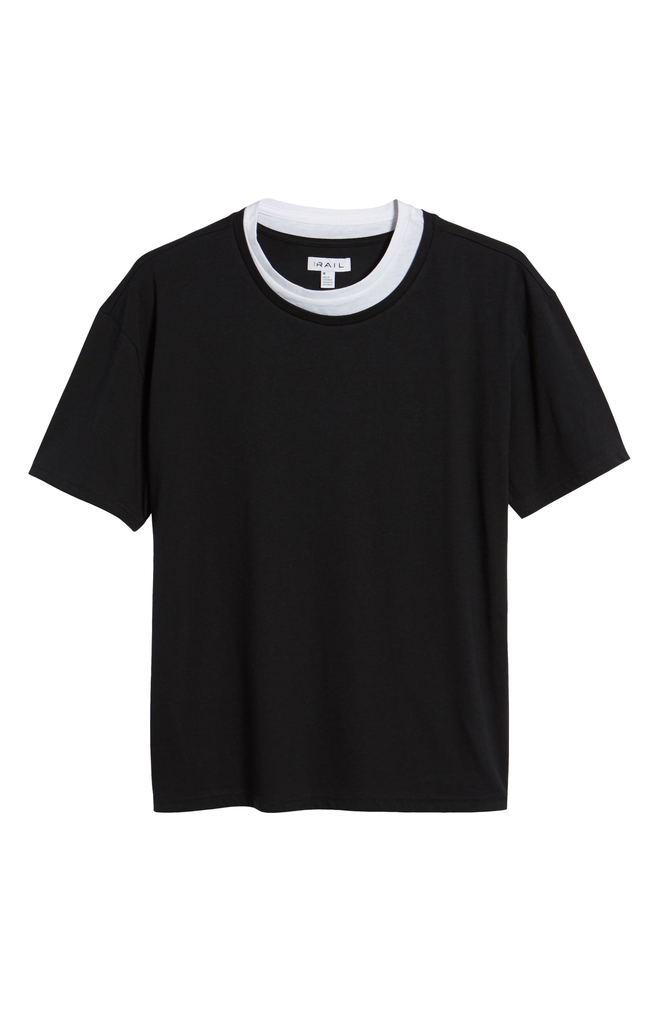 Double Layer T-Shirt,                             Alternate thumbnail 6, color,                             Black/ White