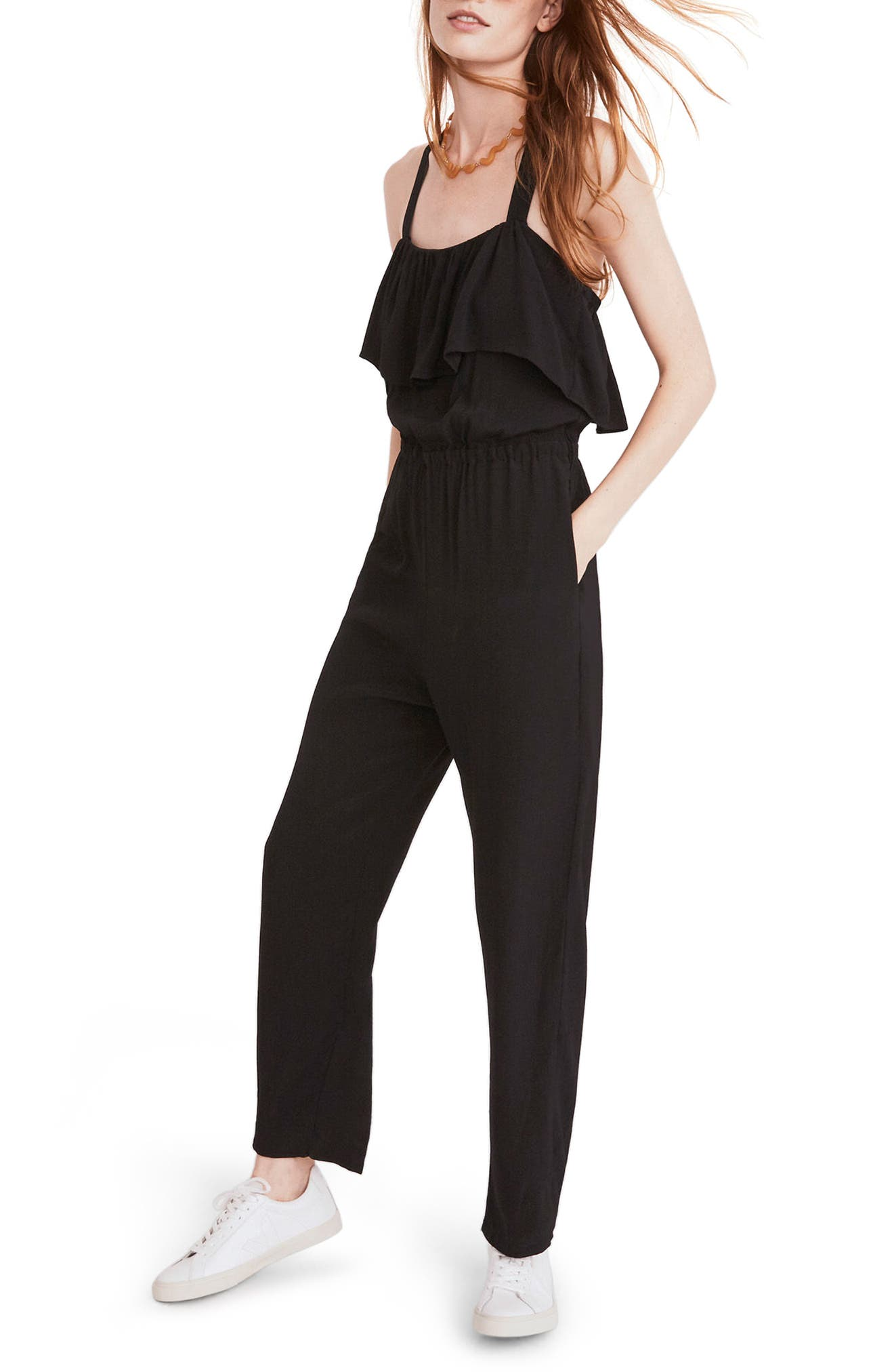 Apron Ruffle Jumpsuit,                         Main,                         color, True Black