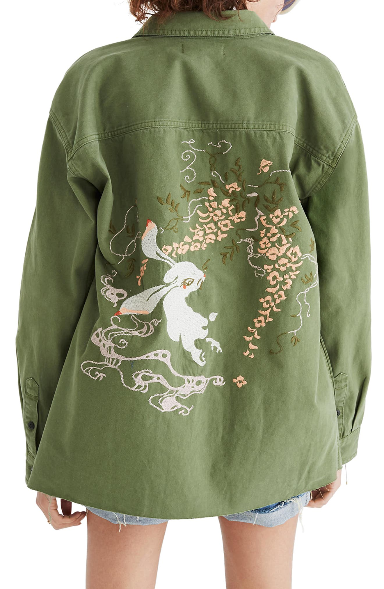 Rabbit Embroidered Shirt Jacket,                             Alternate thumbnail 2, color,                             Palm Tree