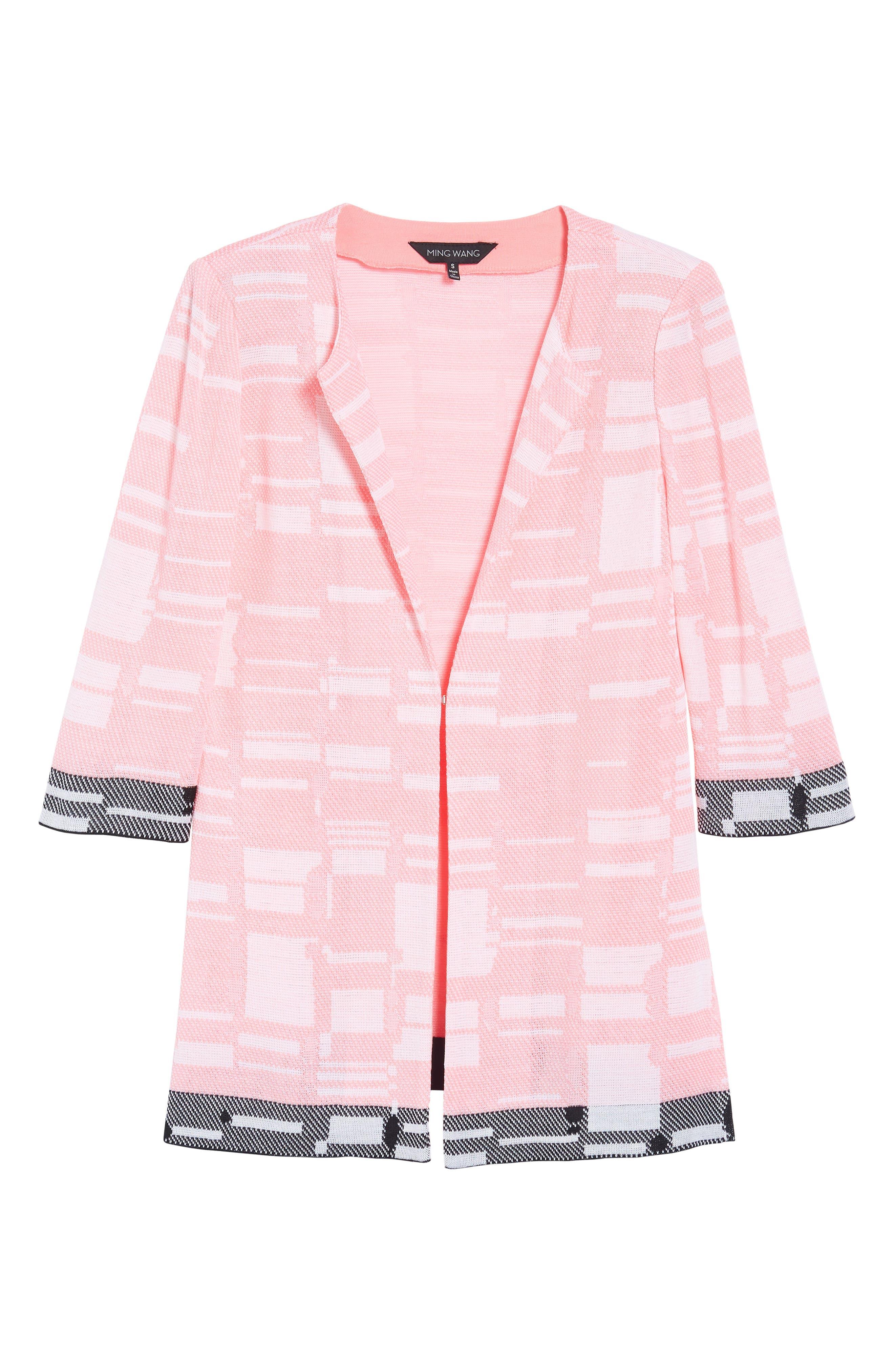 Multi Contrast Pattern Long Jacket,                             Alternate thumbnail 6, color,                             Pink Lemonade/ White/ Black
